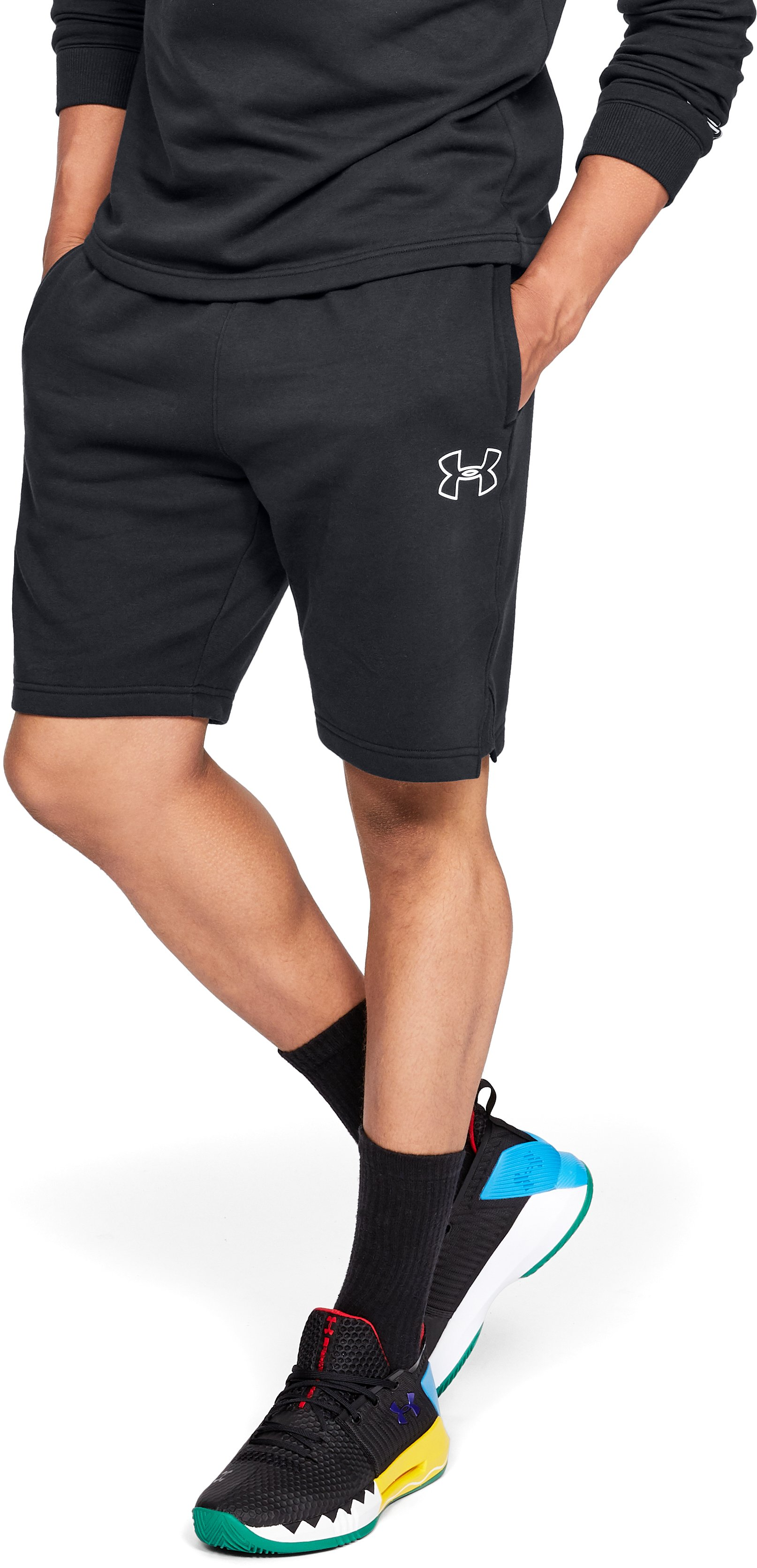Men's UA Baseline Fleece Shorts, Black ,