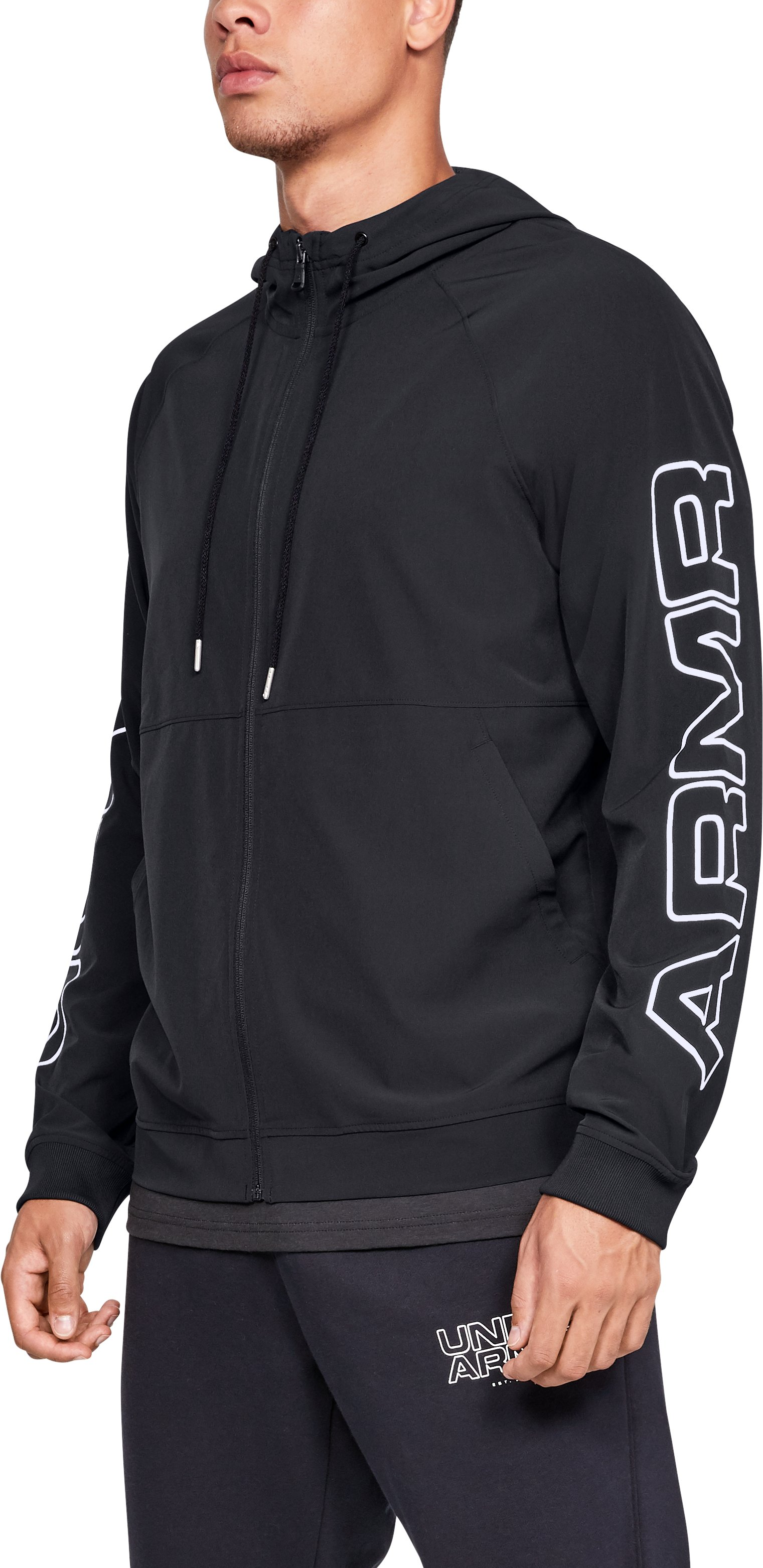 Men's UA Baseline Woven Jacket, Black ,
