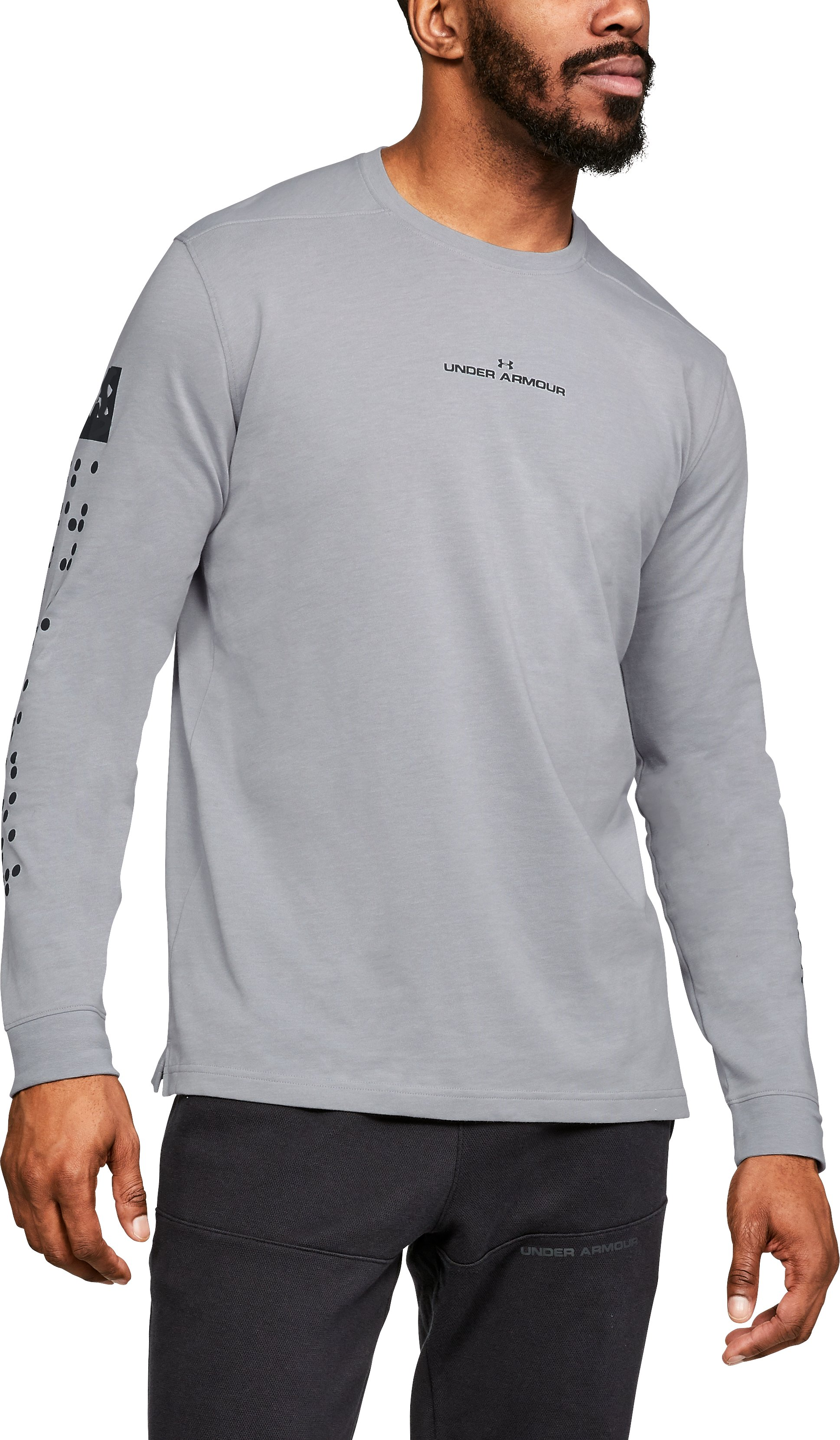 Men's UA Pursuit Long Sleeve, STEEL LIGHT HEATHER