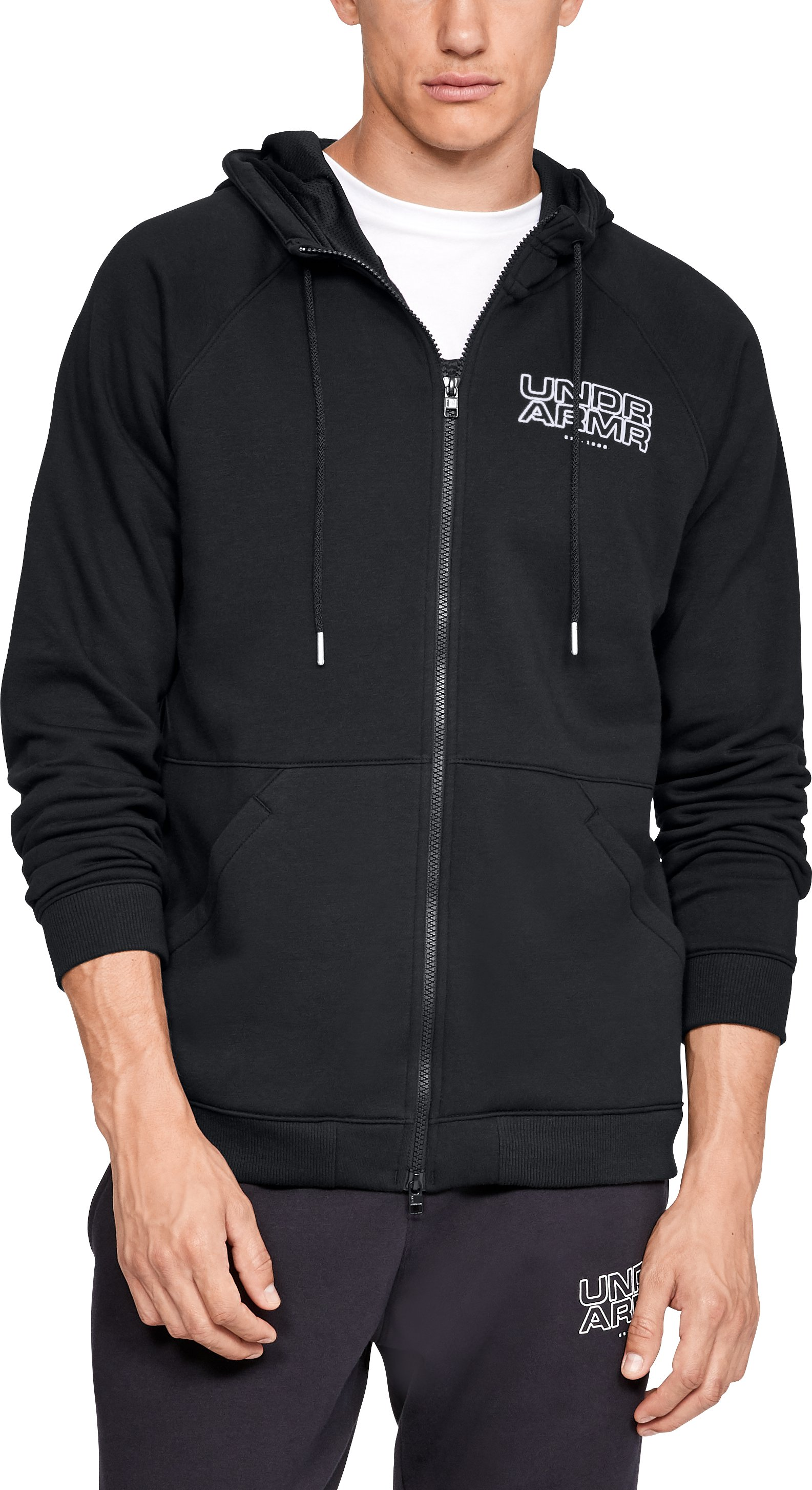 Men's UA Baseline Fleece Full Zip Hoodie, Black