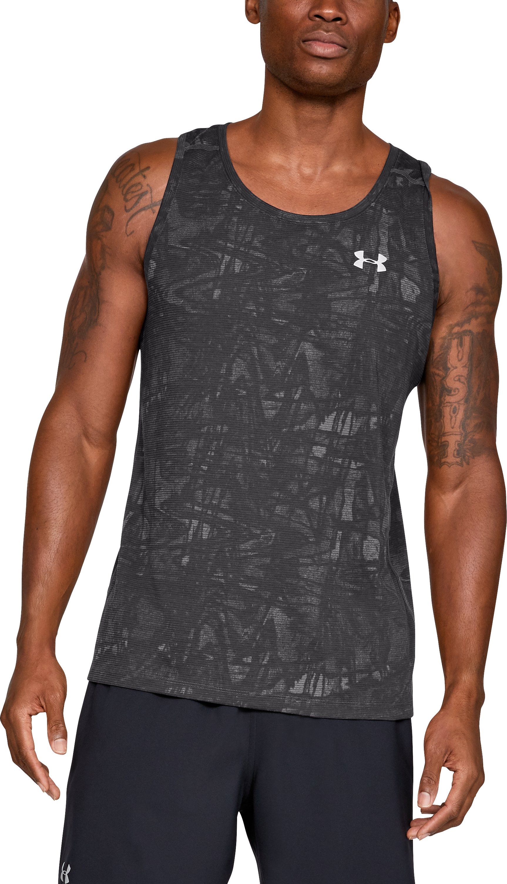 Men's UA Microthread Streaker Singlet, Charcoal,