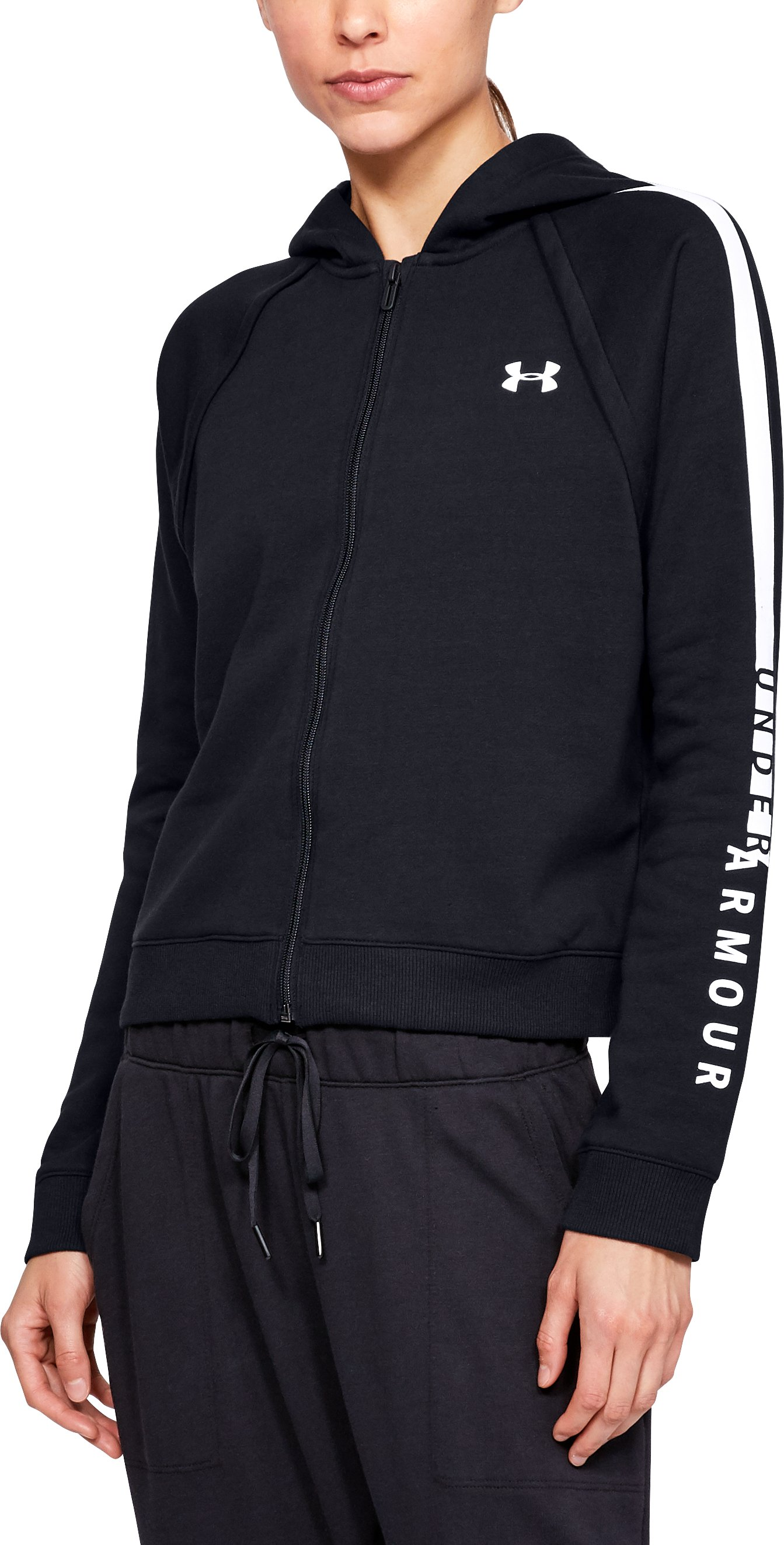 Women's UA Rival Fleece Full Zip Hoodie, Black