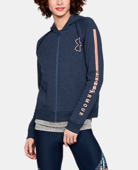 Women's UA Rival Fleece Full Zip Hoodie  1  Color Available $55