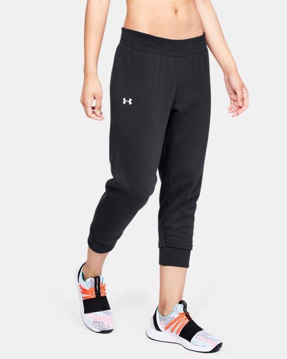 Women's UA Rival Fleece Crop, Black, pdpMainDesktop image number 0