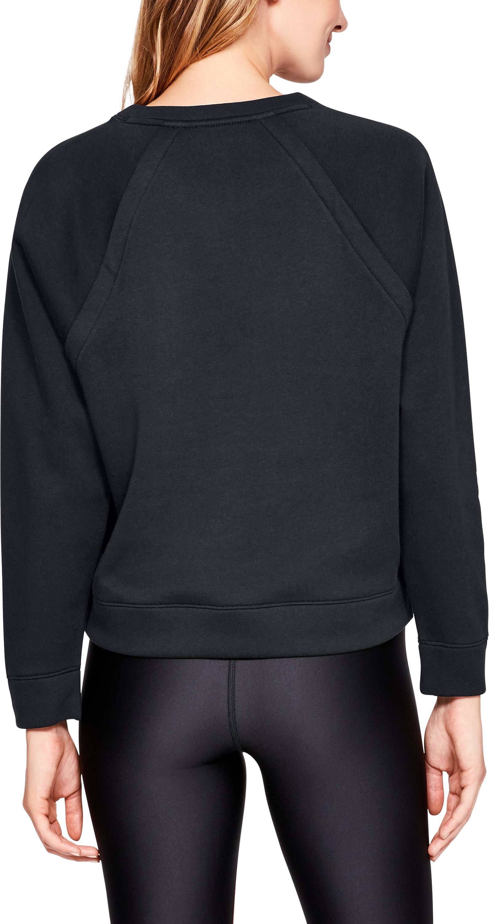Women's UA Rival Fleece Crew, Black ,
