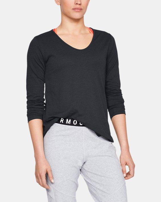 Women's UA Pindot Open Back Long Sleeve, Black, pdpMainDesktop image number 1