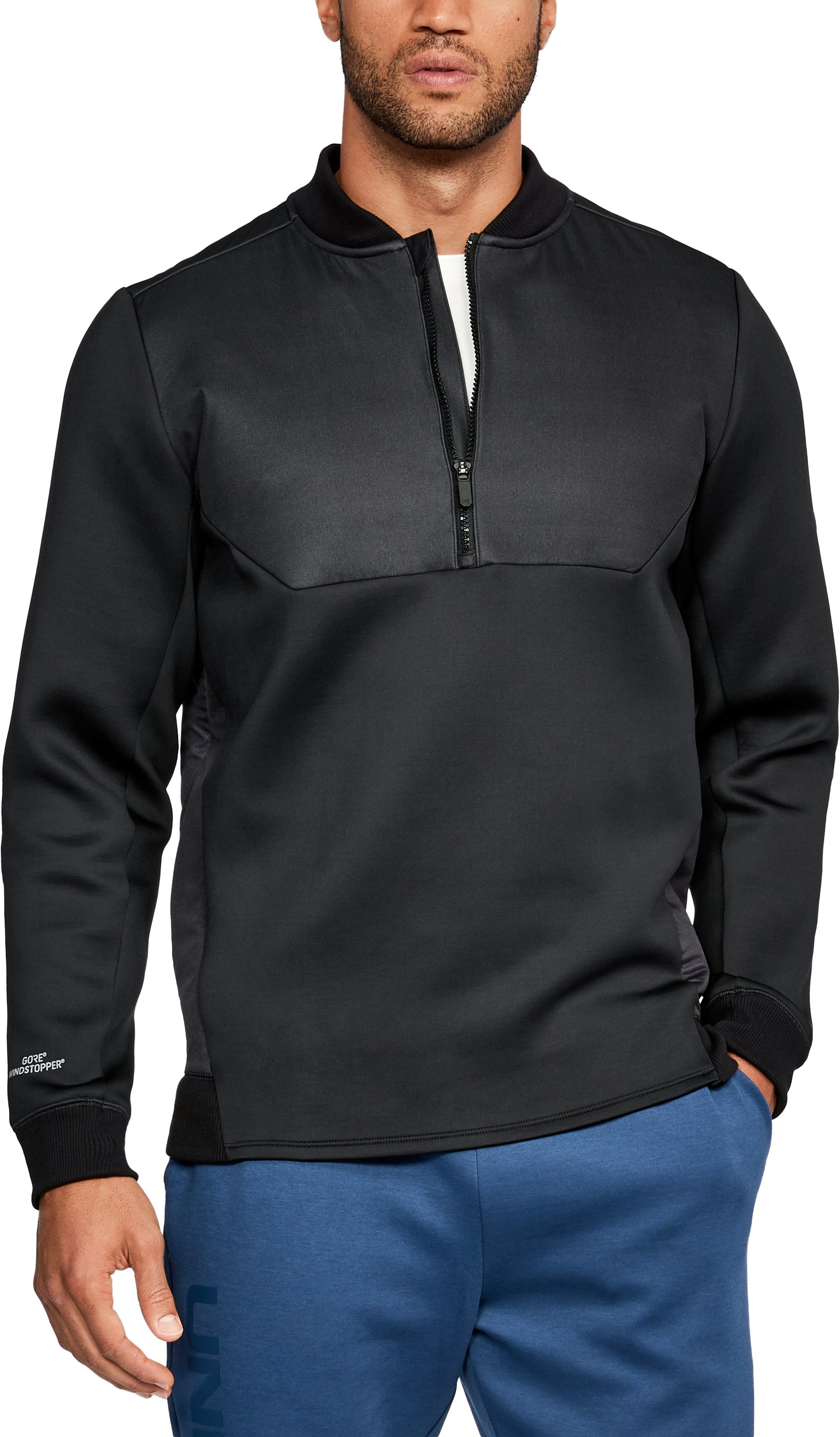 Men's UA Unstoppable GORE® WINDSTOPPER® ½ Zip, Black
