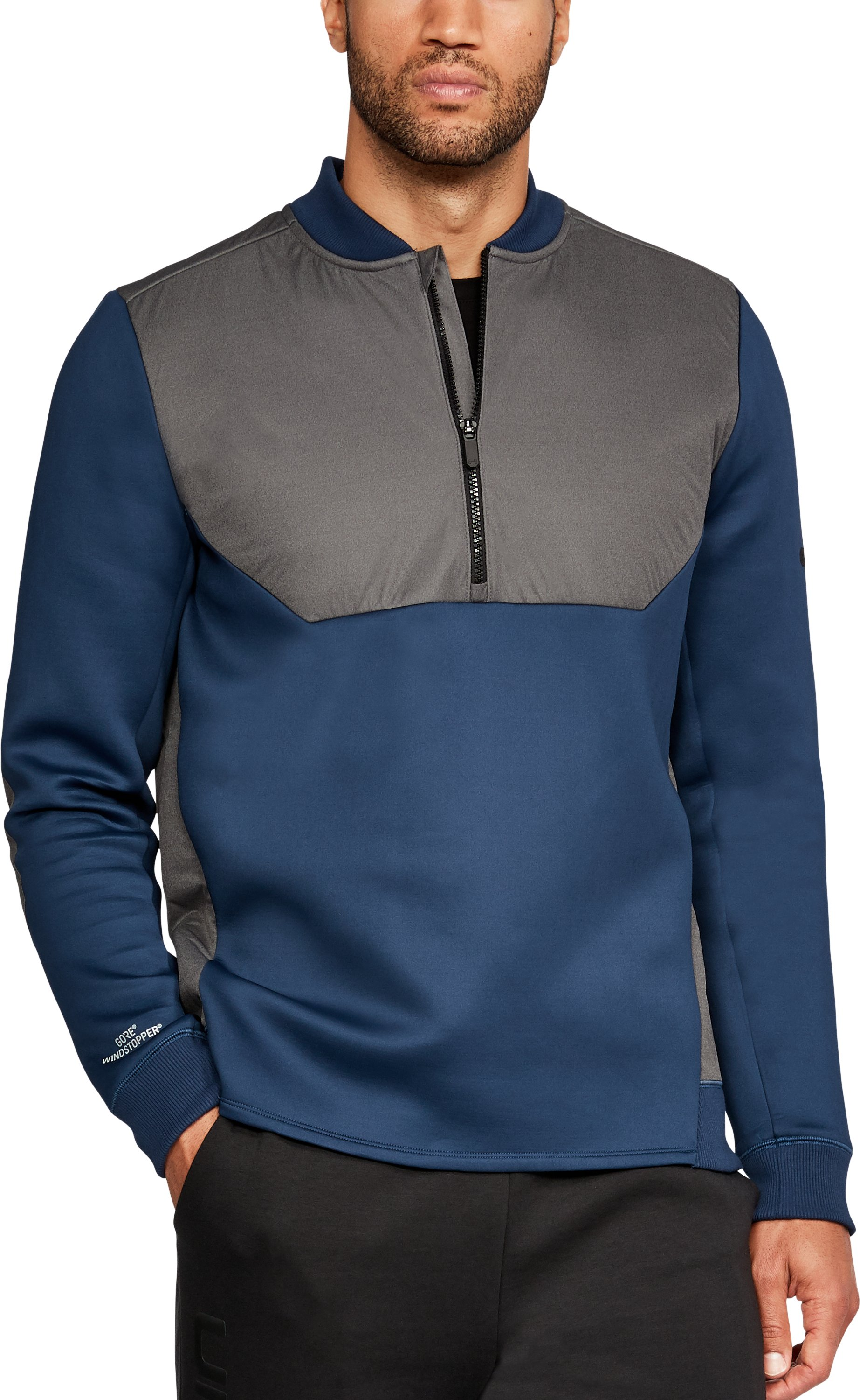Men's UA Unstoppable GORE® WINDSTOPPER® ½ Zip, NIGHTTIME BLUE,