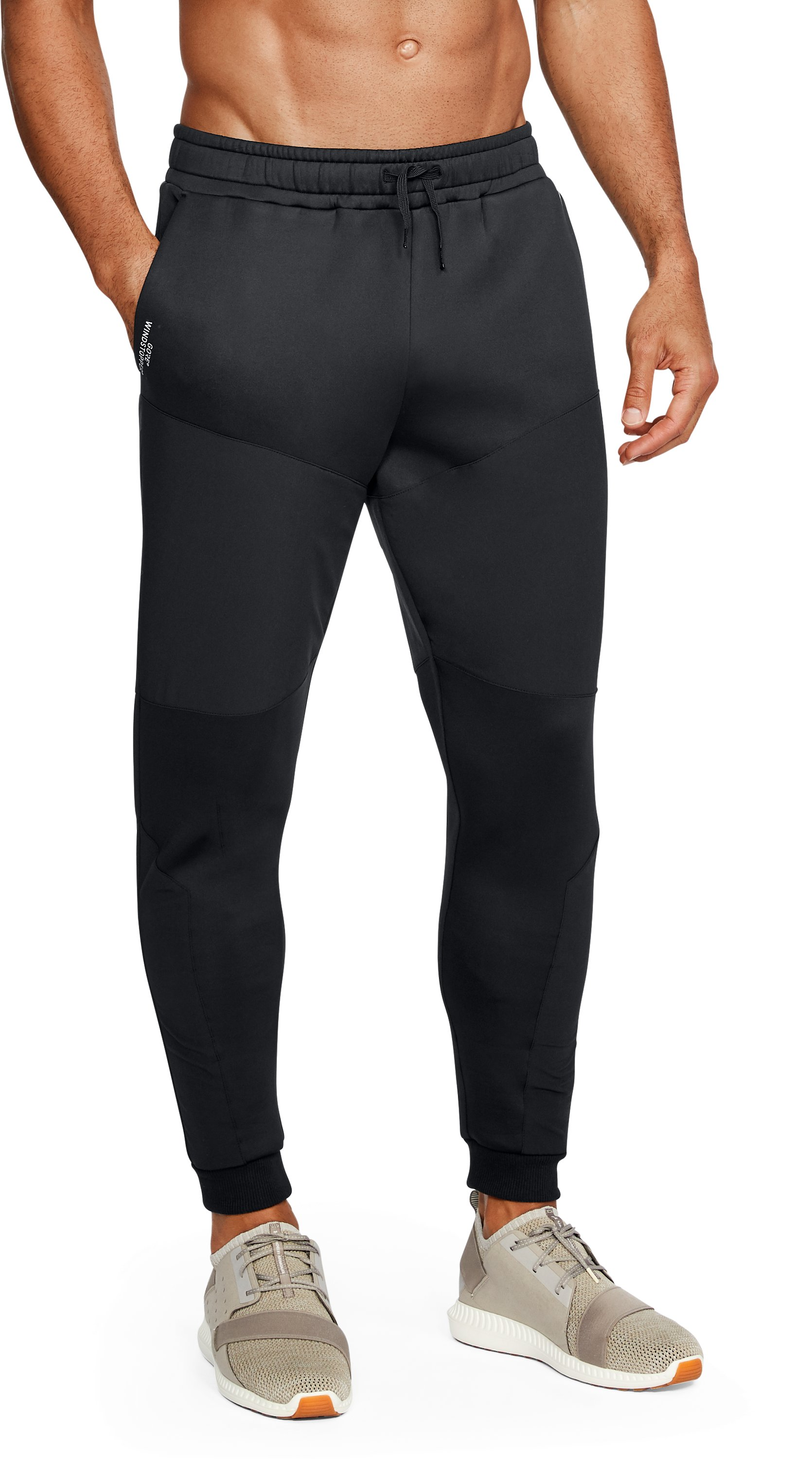 Men's UA Unstoppable GORE® WINDSTOPPER® Tapered Knit Pants, Black
