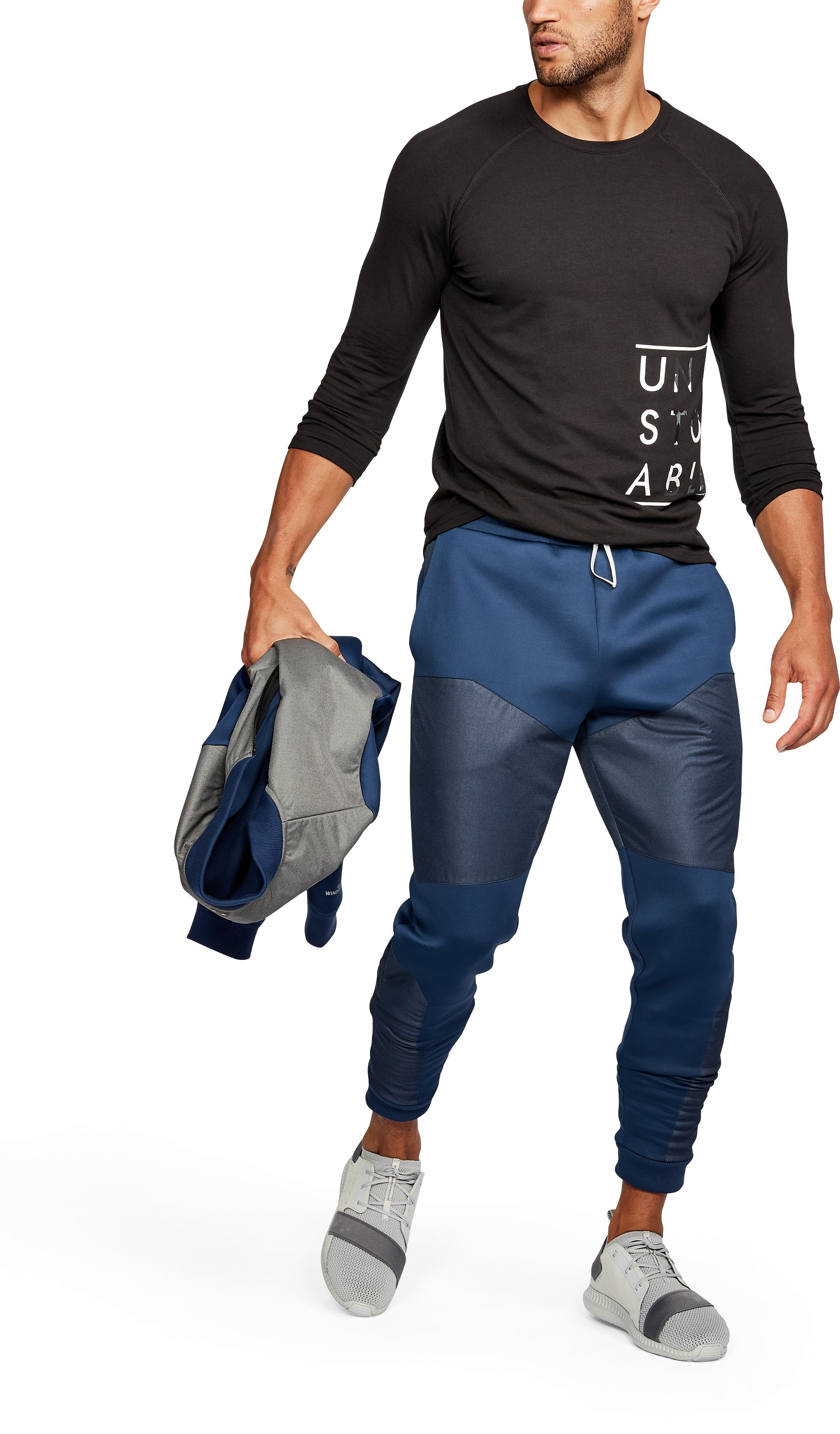 Men's UA Unstoppable GORE® WINDSTOPPER® Tapered Knit Pants, NIGHTTIME BLUE,