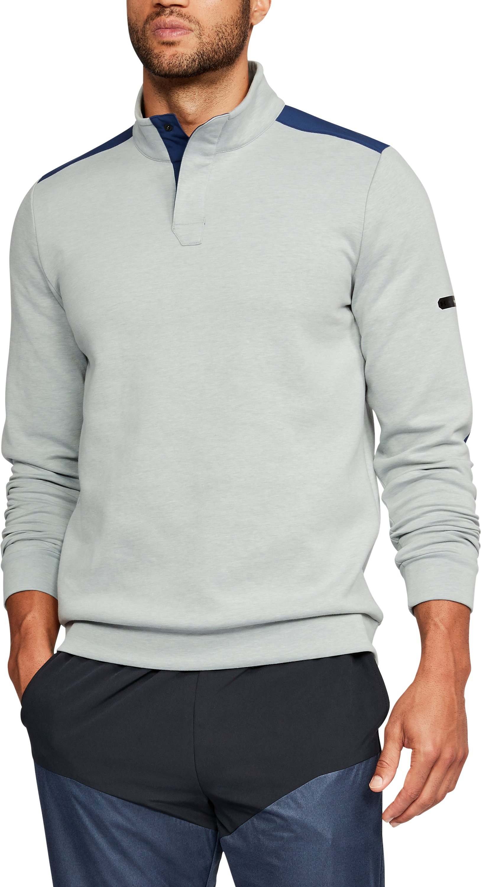 Men's UA Unstoppable Knit Henley, True Gray Heather