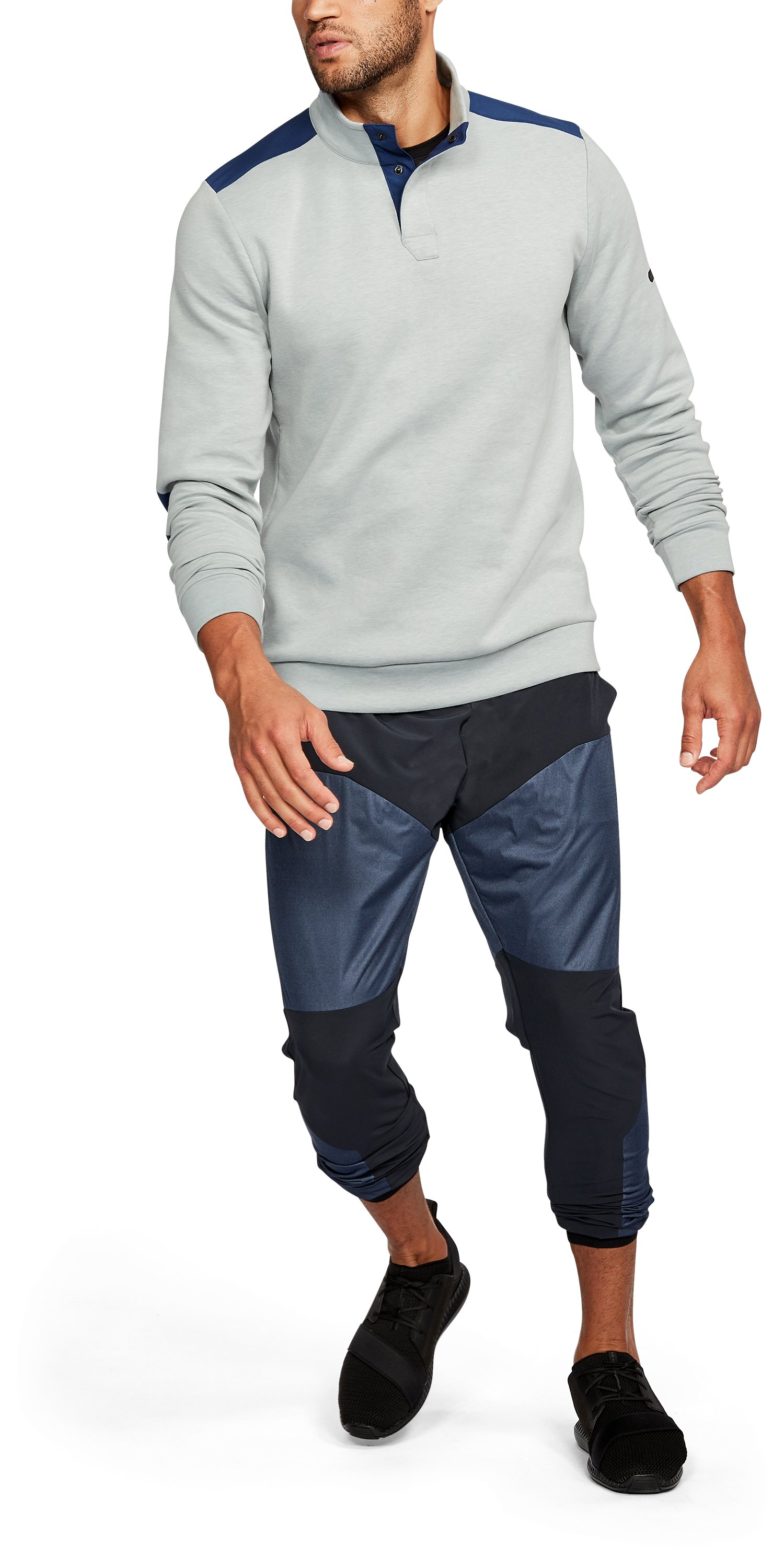 Men's UA Unstoppable Knit Henley, True Gray Heather,