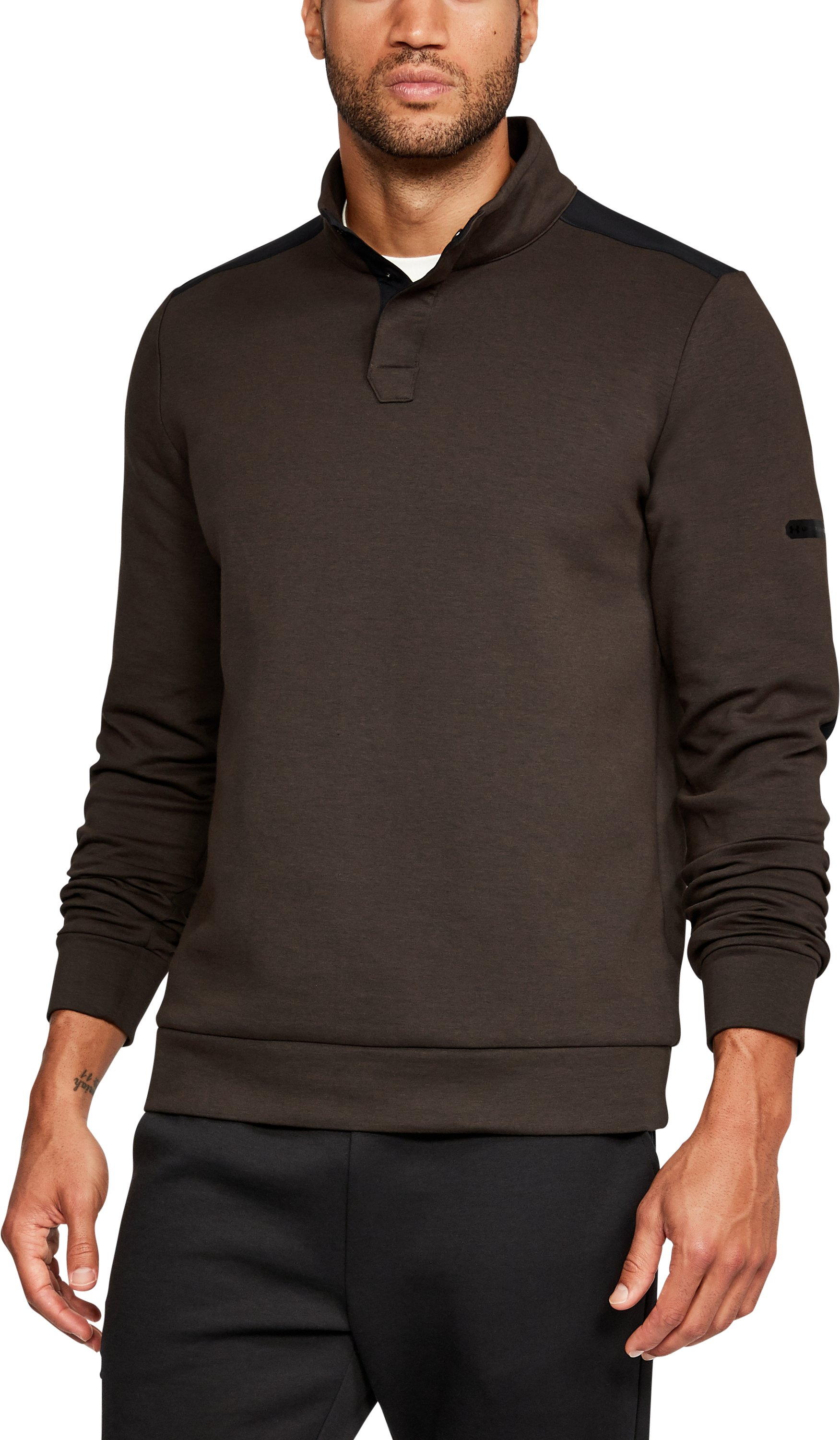 Men's UA Unstoppable Knit Henley, CHESTNUT BROWN, undefined
