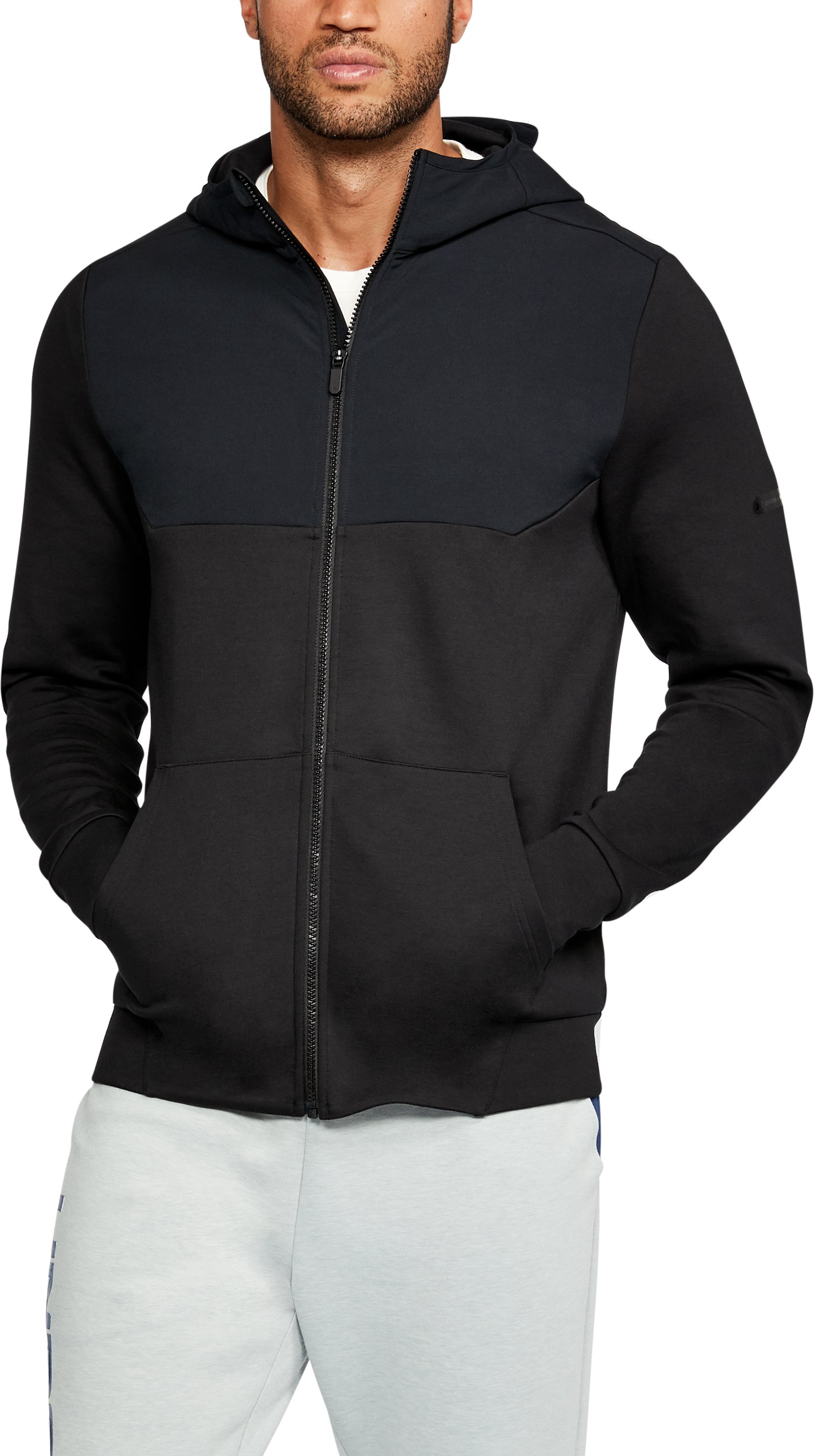Men's UA Unstoppable Knit Full Zip Hoodie, Black