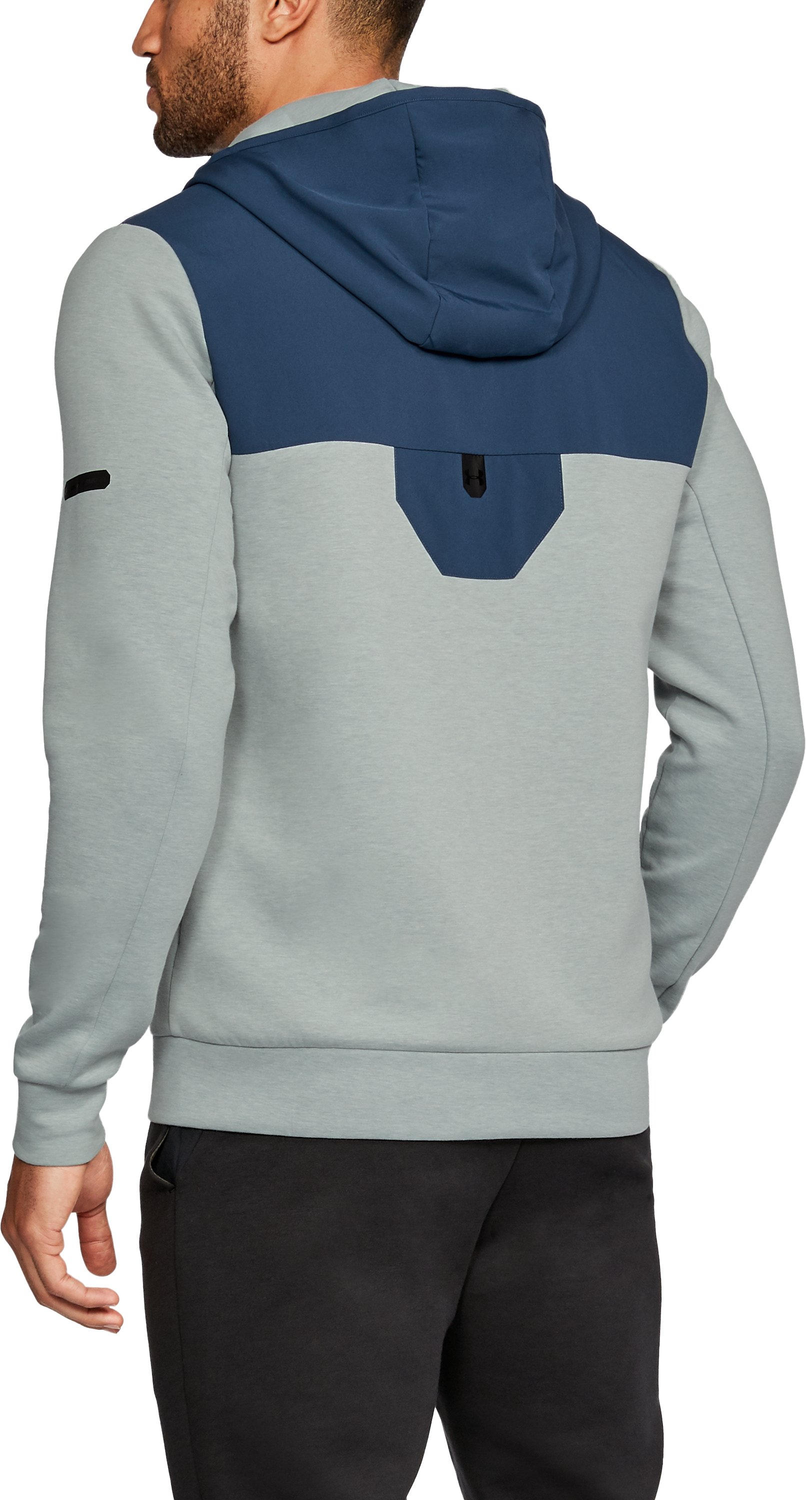 Men's UA Unstoppable Knit Full Zip Hoodie, True Gray Heather,