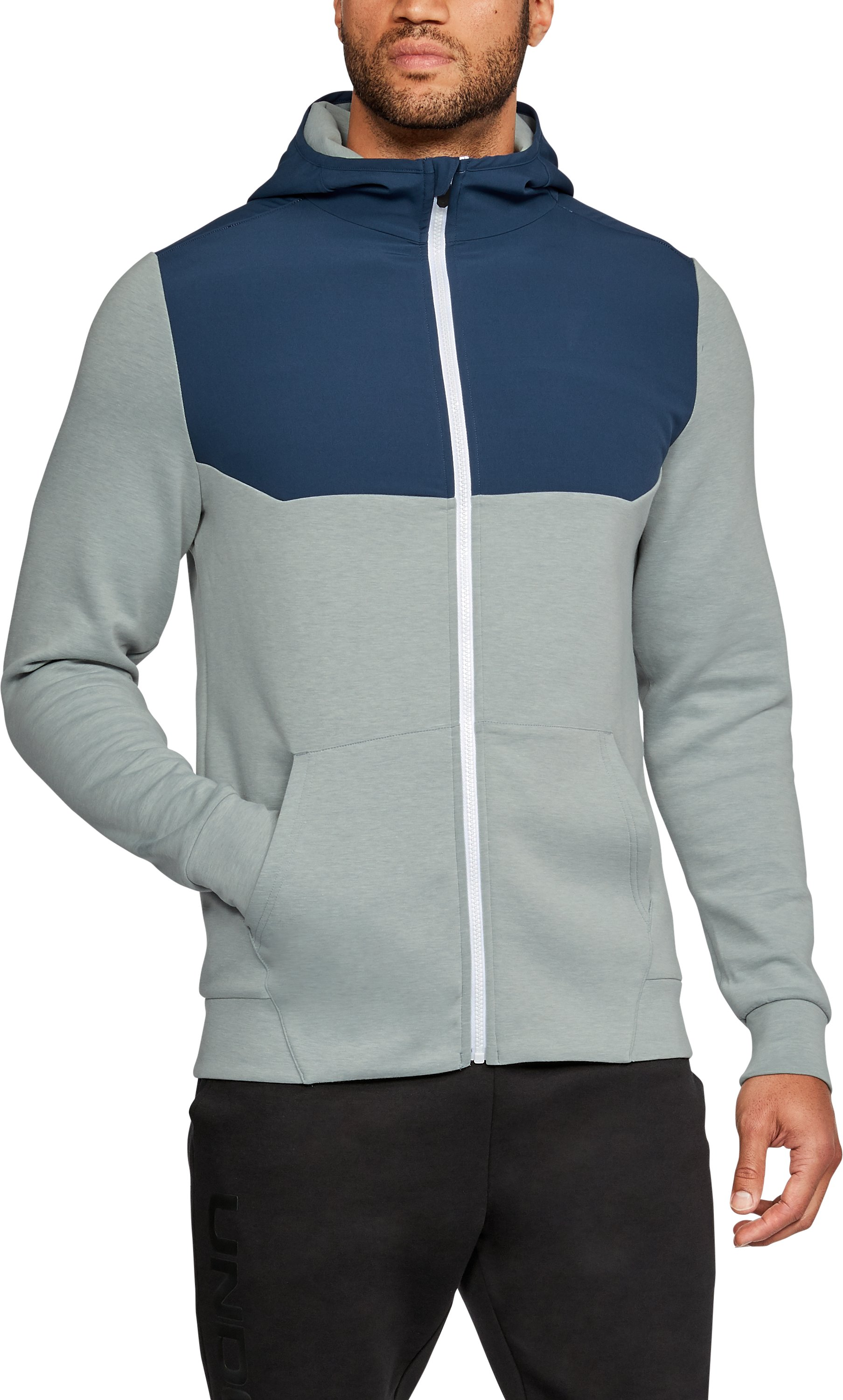 Men's UA Unstoppable Knit Full Zip Hoodie, True Gray Heather