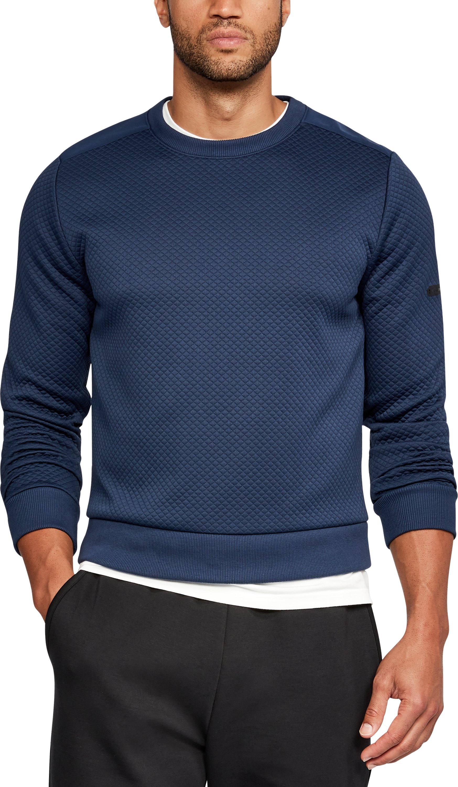 Men's UA Unstoppable Textured Crew, NIGHTTIME BLUE