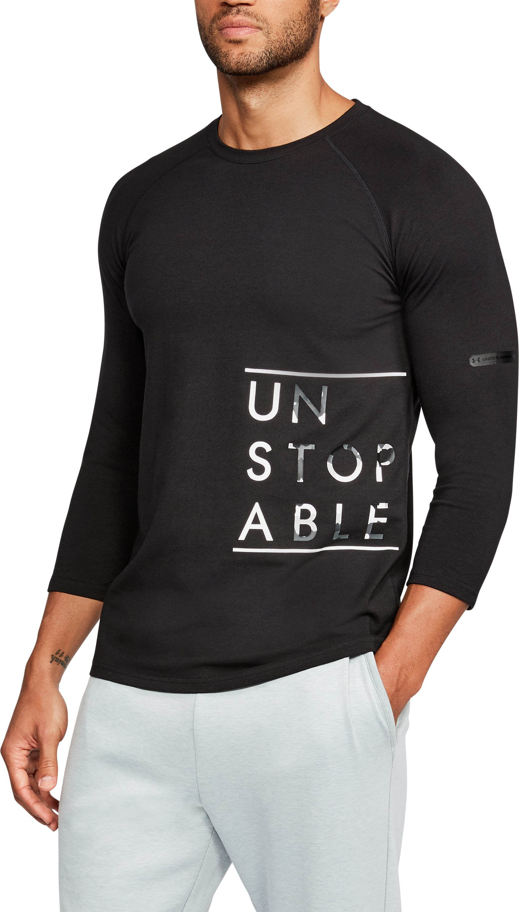 Men's UA Unstoppable ¾ Sleeve T-Shirt, Black ,