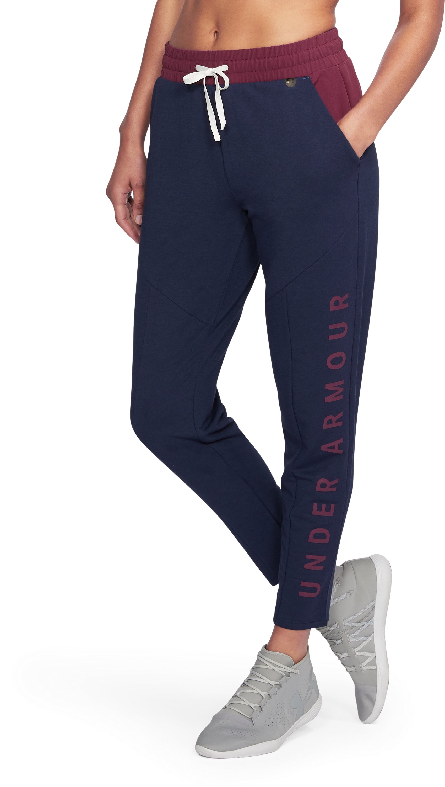 Women's UA Unstoppable World's Greatest Knit Sweat Pants, NIGHTTIME BLUE