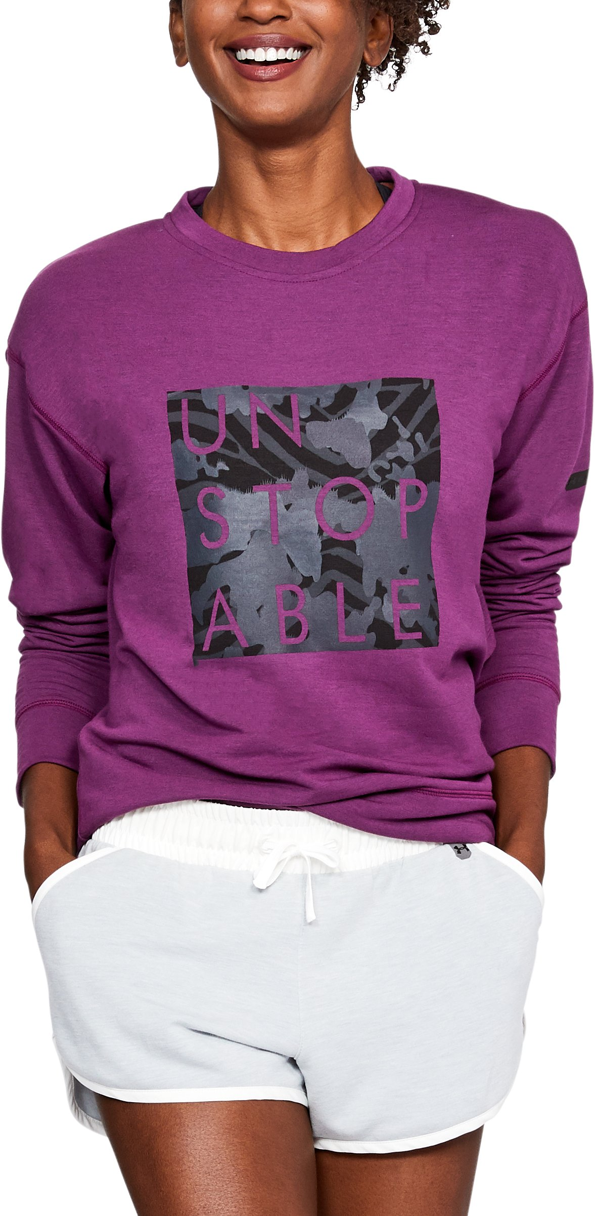 Women's UA Unstoppable Knit Crew, PURPLE SORBET