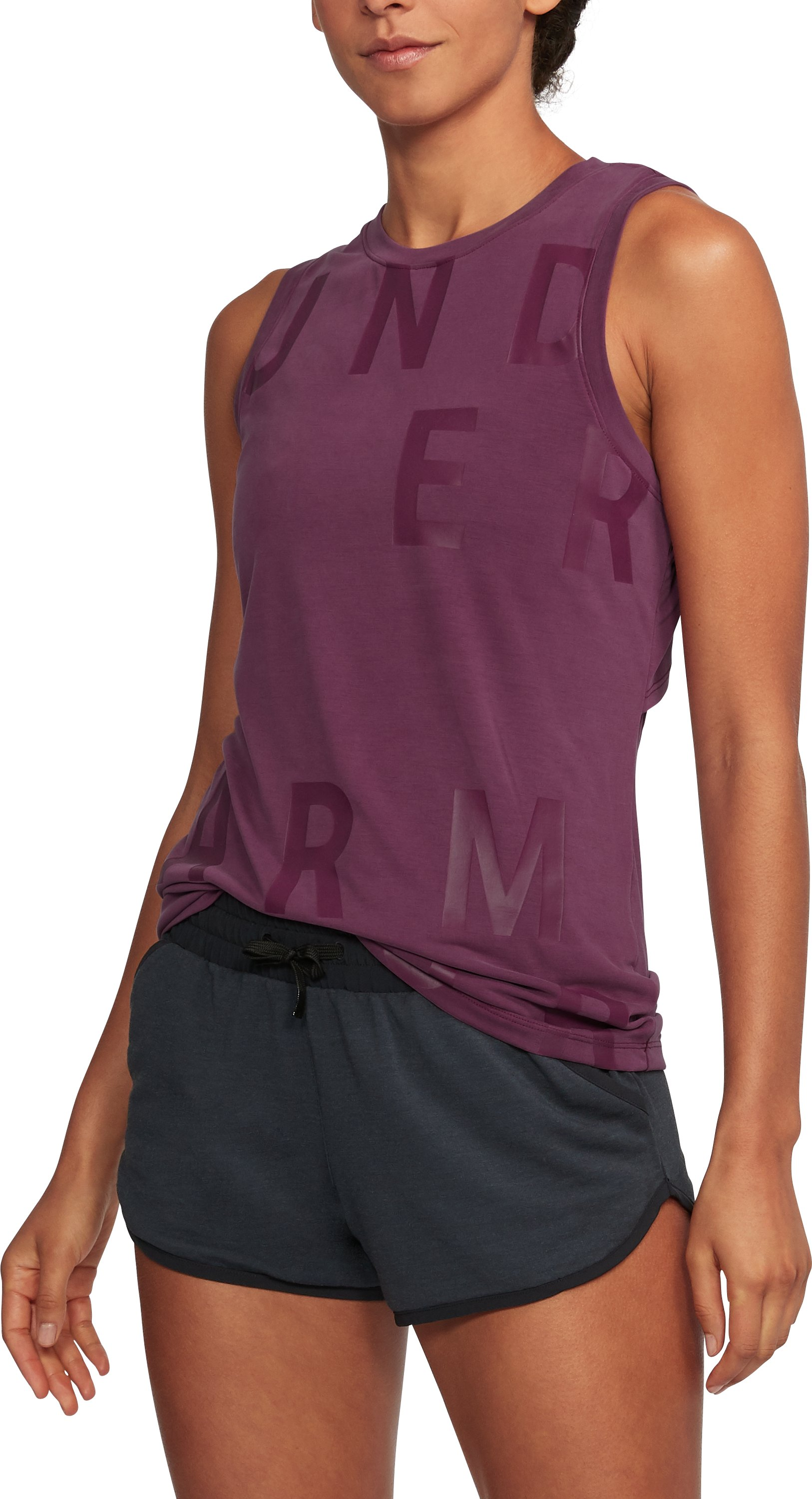 Women's UA Unstoppable Graphic Tank, PURPLE SORBET