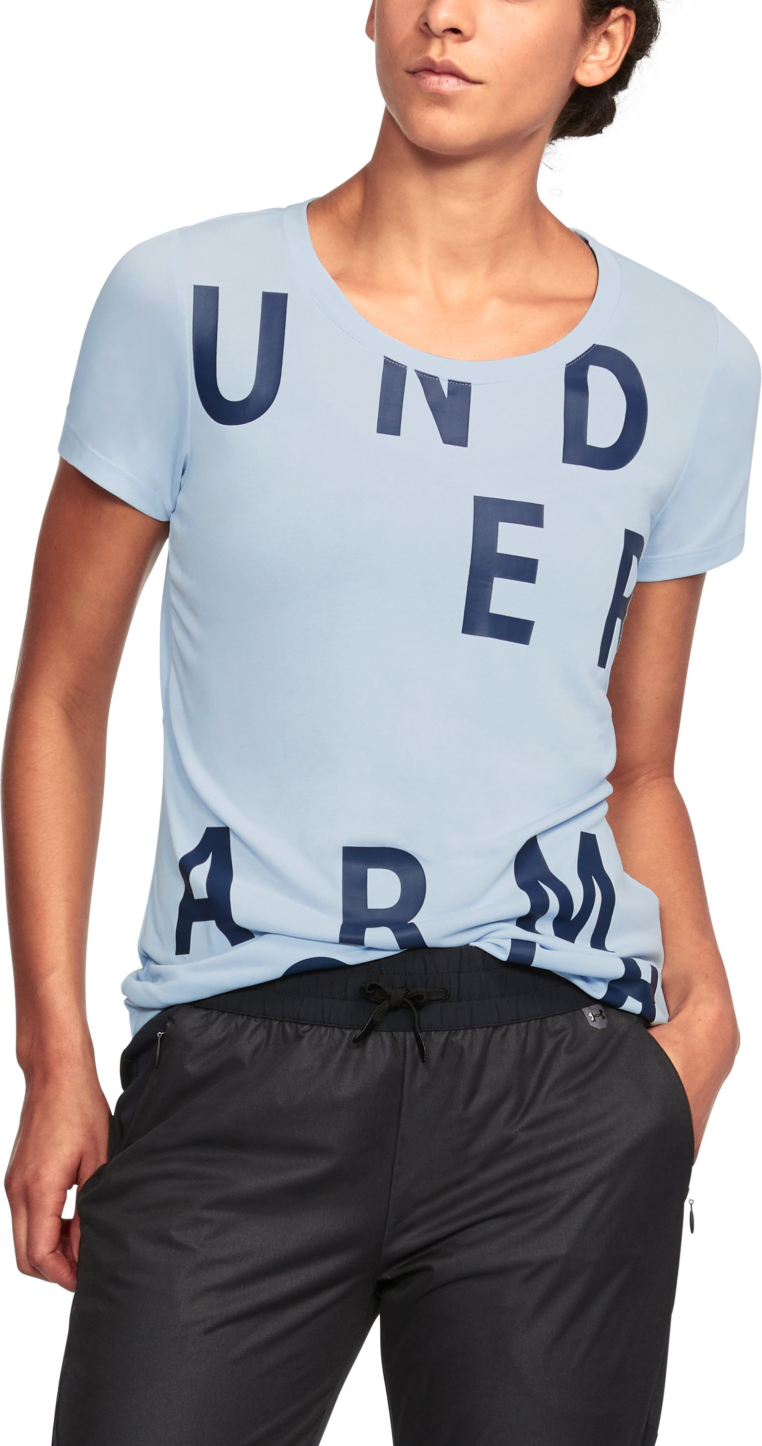 Women's UA Unstoppable Graphic T-Shirt, MORNINGSIDE BLUE
