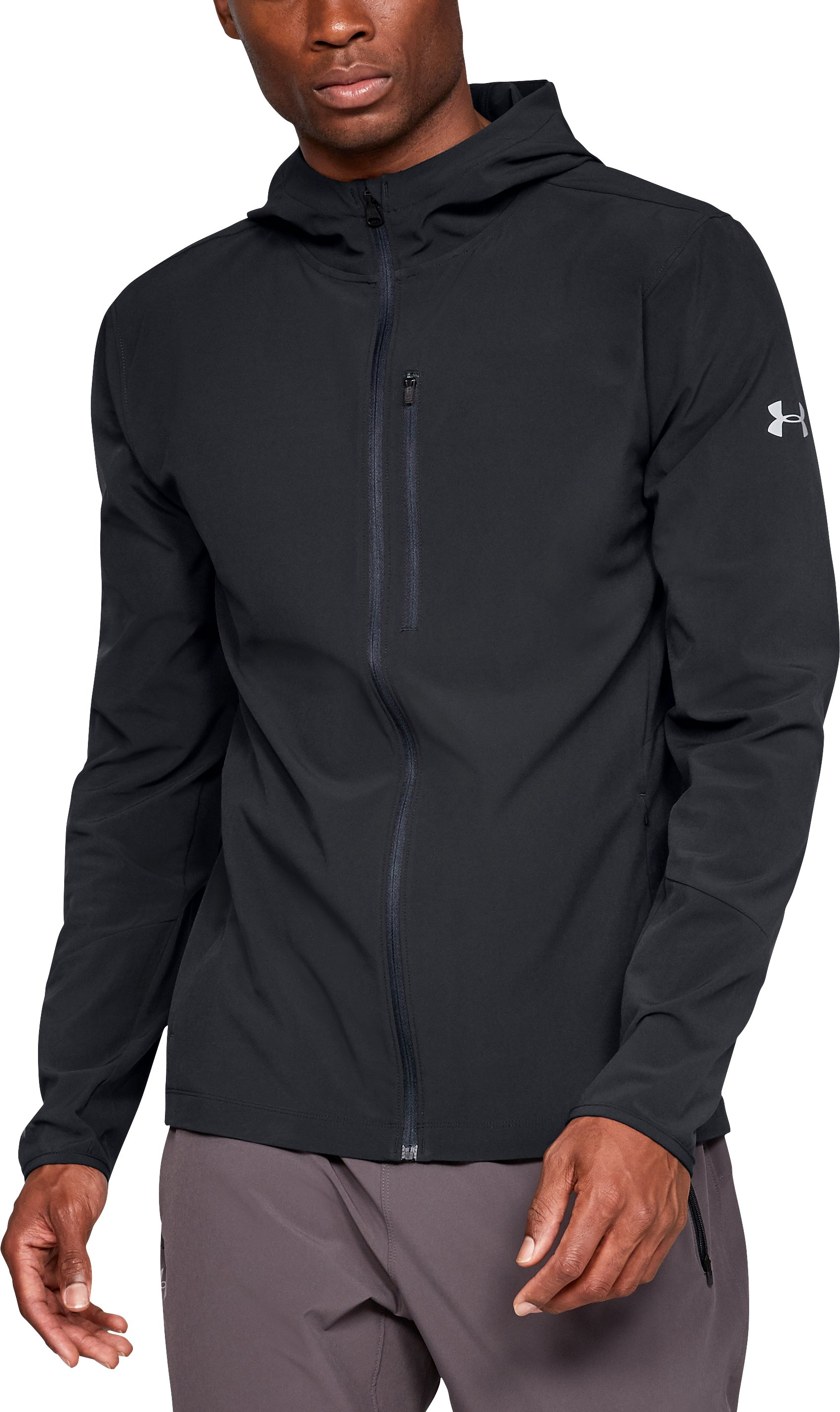Men's UA Outrun The Storm Jacket, Black ,