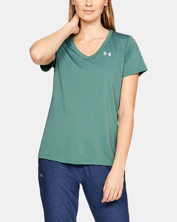 Women's UA Tech™ Color Shift V-neck Short Sleeve, Green, pdpMainDesktop image number 0