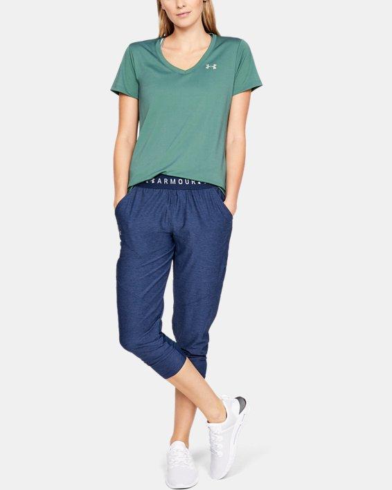 Women's UA Tech™ Color Shift V-neck Short Sleeve, Green, pdpMainDesktop image number 1