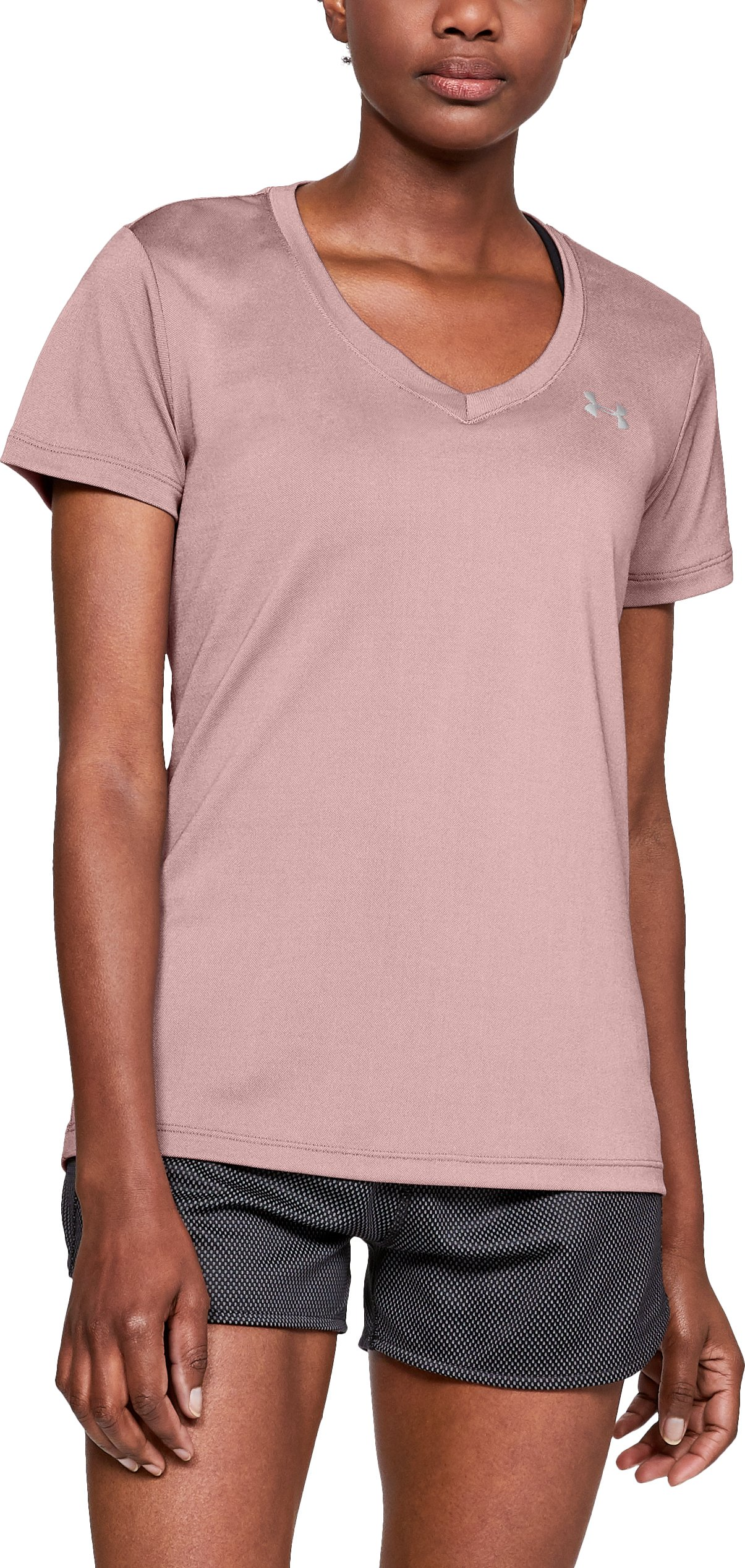 Women's UA Tech™ Color Shift V-neck Short Sleeve, Flushed Pink, zoomed