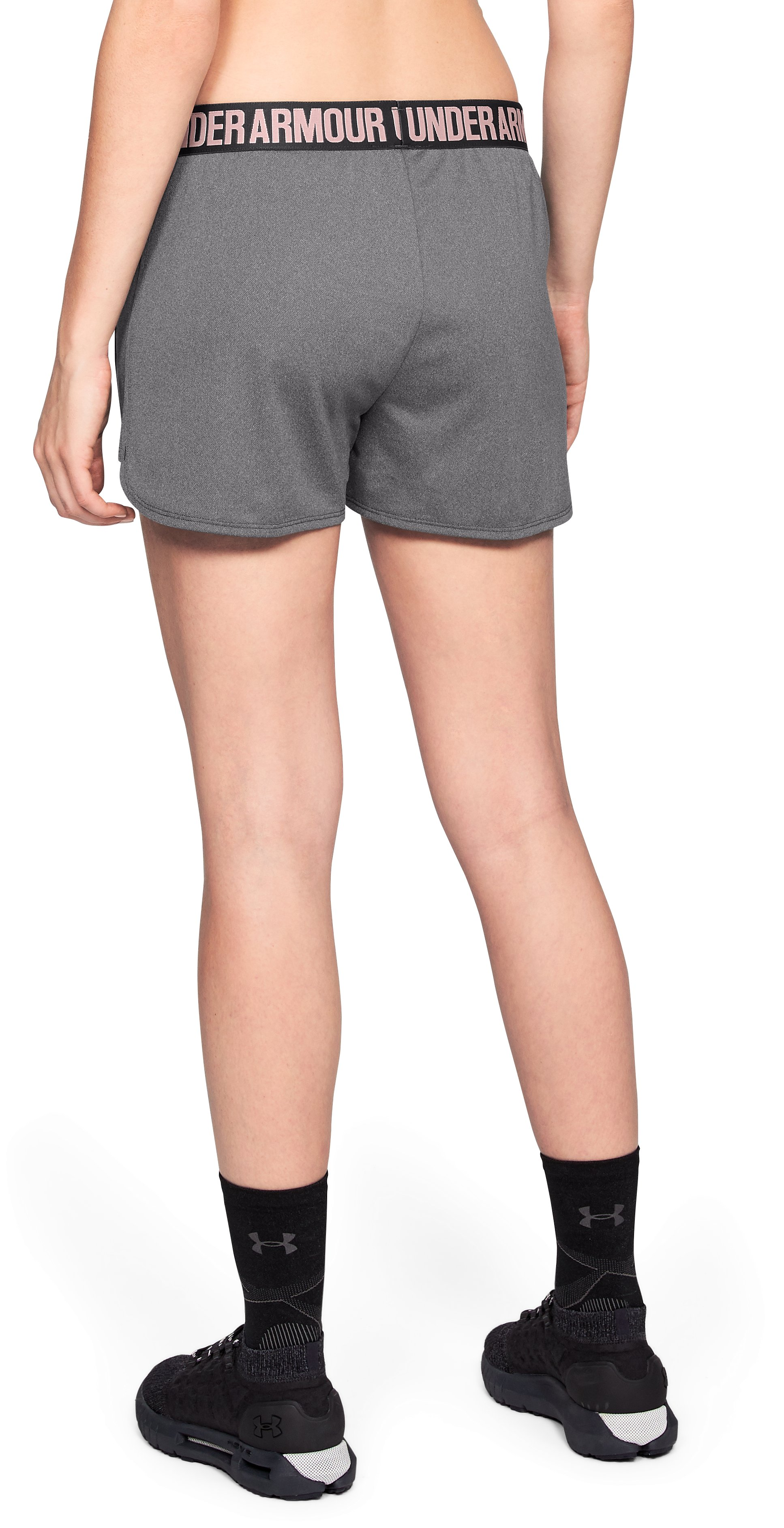 Women's UA Play Up 2.0 Graphic Shorts, Charcoal,