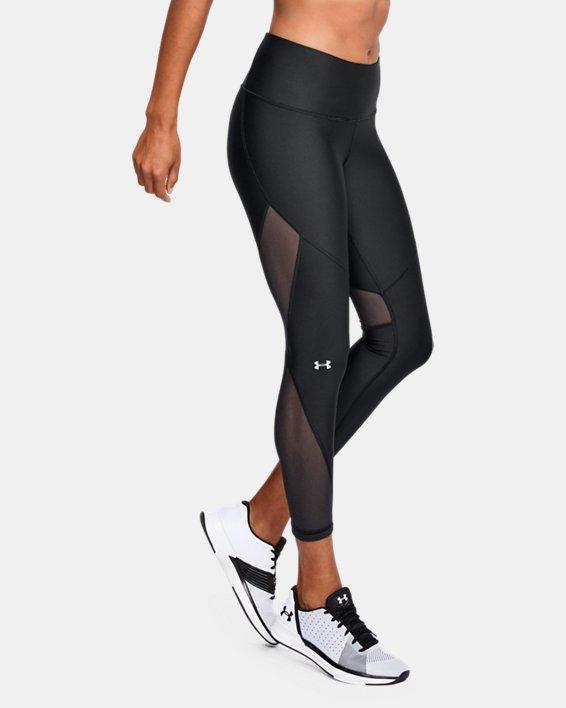 Women's HeatGear® Armour Mesh Ankle Crop, Black, pdpMainDesktop image number 0