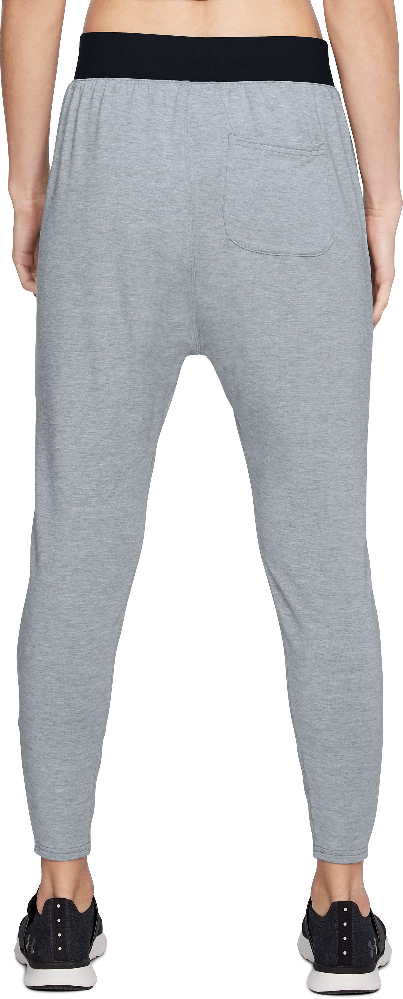 Women's UA Modal Terry Tapered Slouch Pants, STEEL FADE HEATHER,