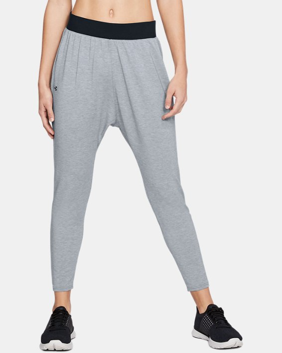 Women's UA Modal Terry Tapered Slouch Pants, Gray, pdpMainDesktop image number 0