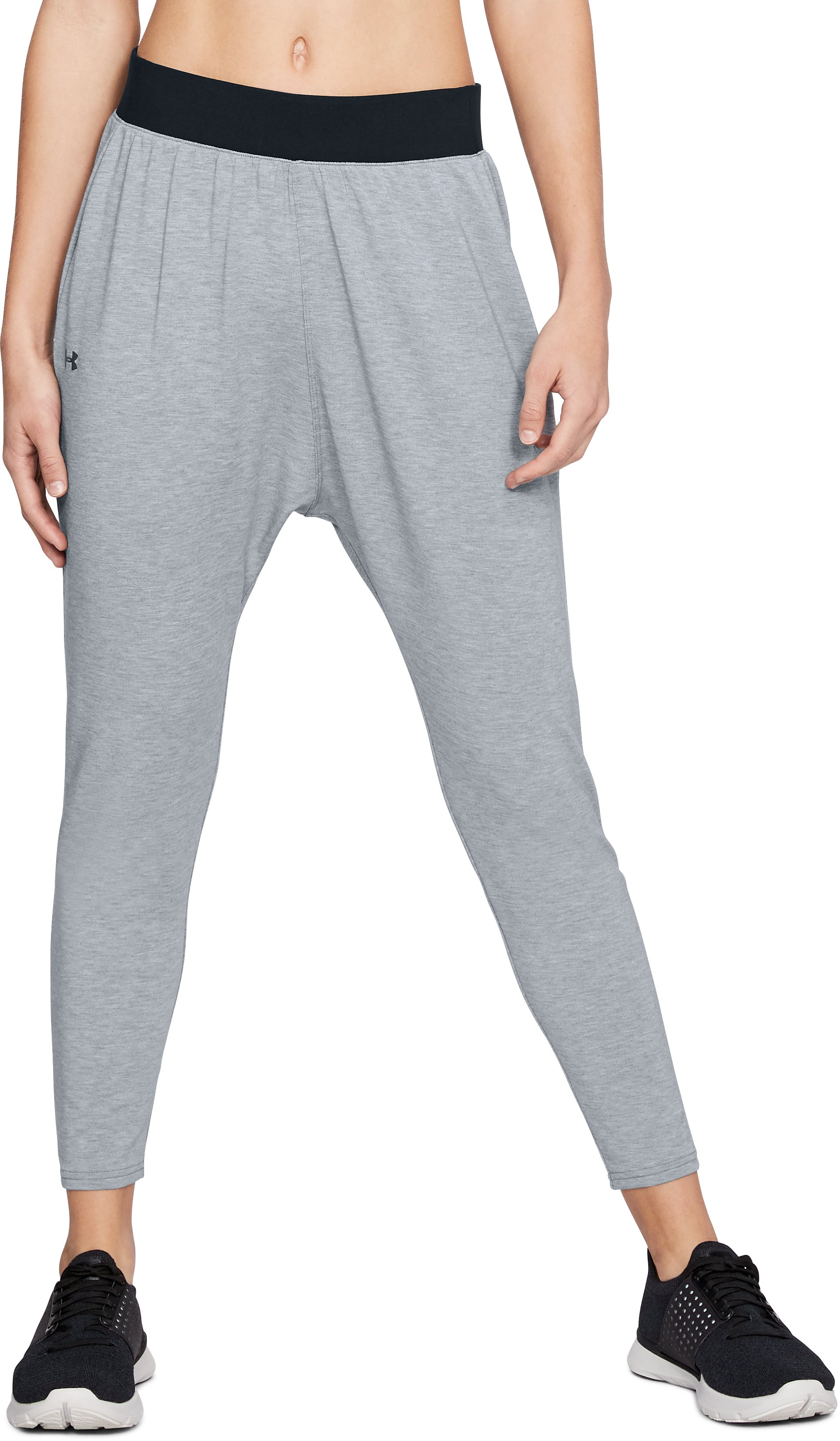 Women's UA Modal Terry Tapered Slouch Pants, STEEL FADE HEATHER
