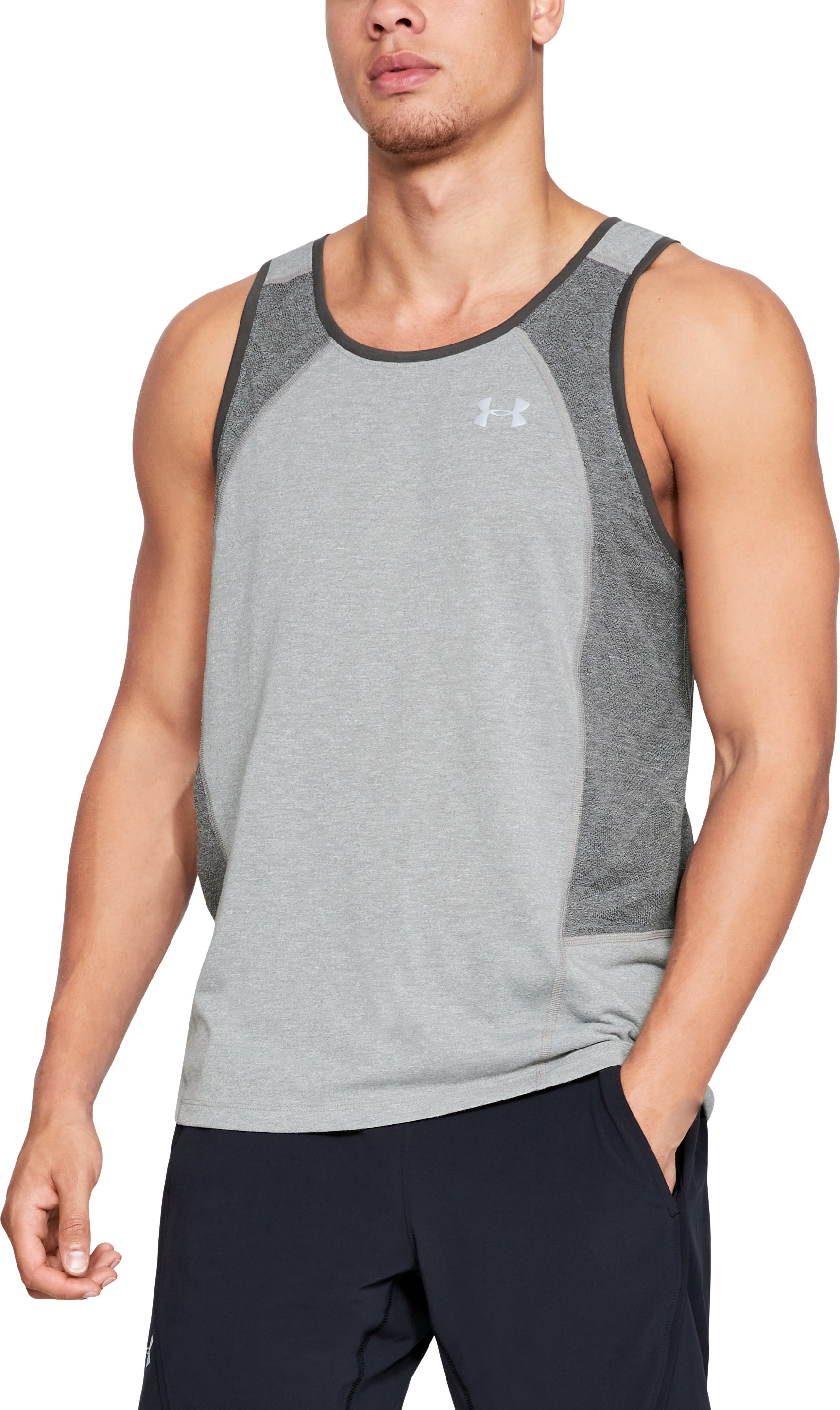 Men's UA Swyft Singlet, STEEL LIGHT HEATHER