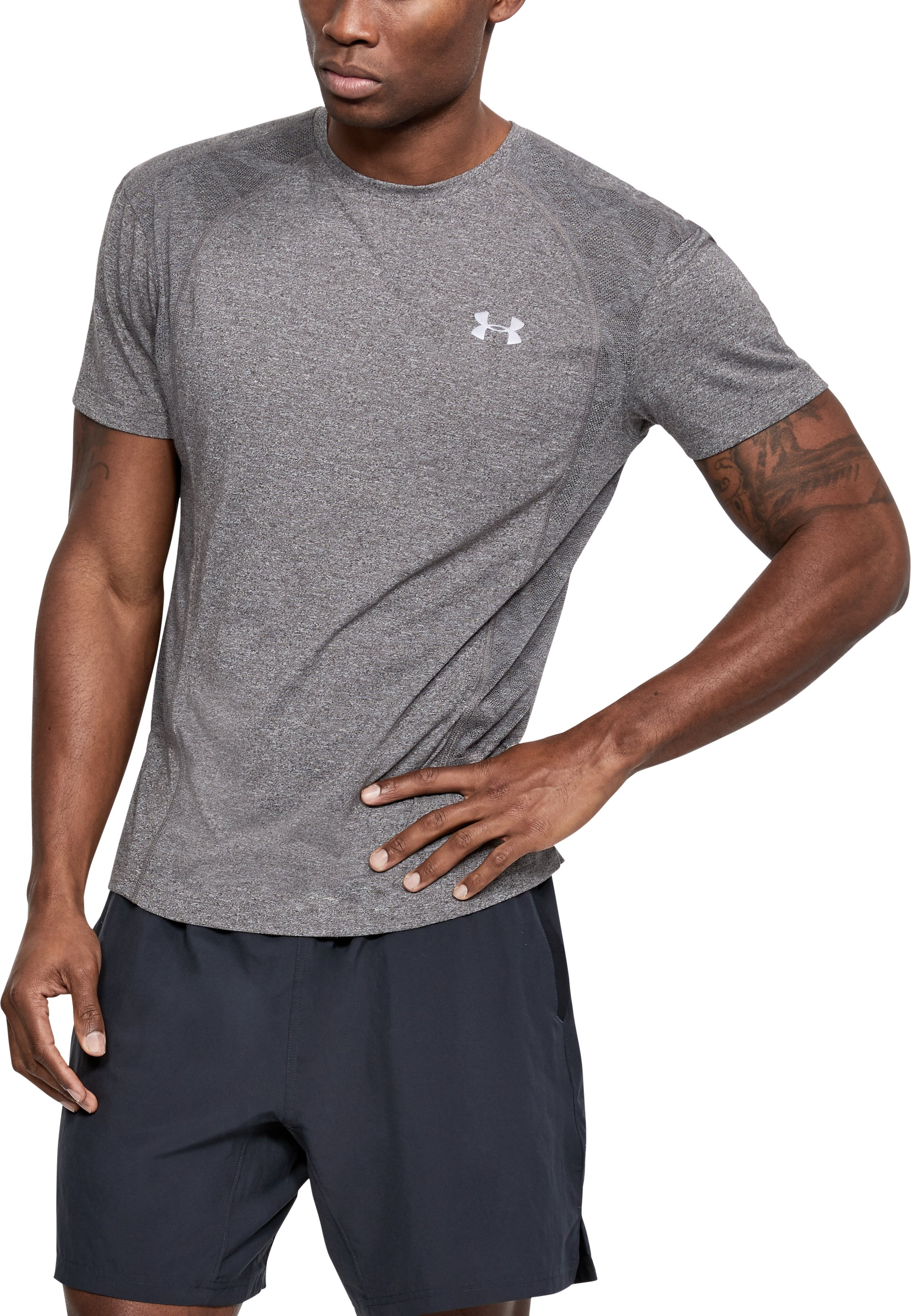 Men's UA Swyft T-Shirt, CHARCOAL LIGHT HEATHER