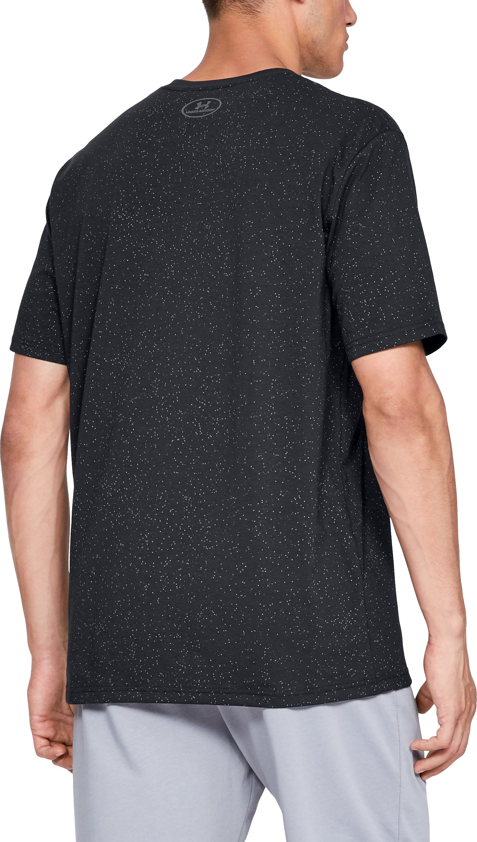 Men's UA Speckle Print Short Sleeve T-Shirt, Black ,