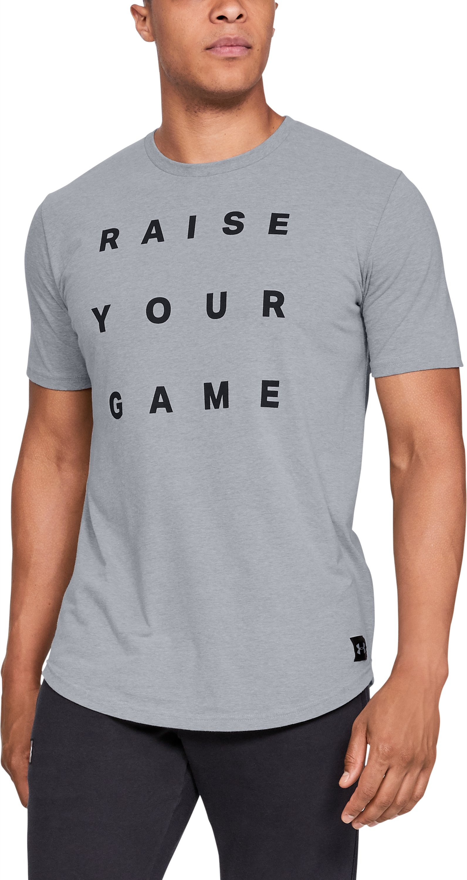 Men's UA Raise Your Game Short Sleeve T-Shirt, STEEL LIGHT HEATHER,
