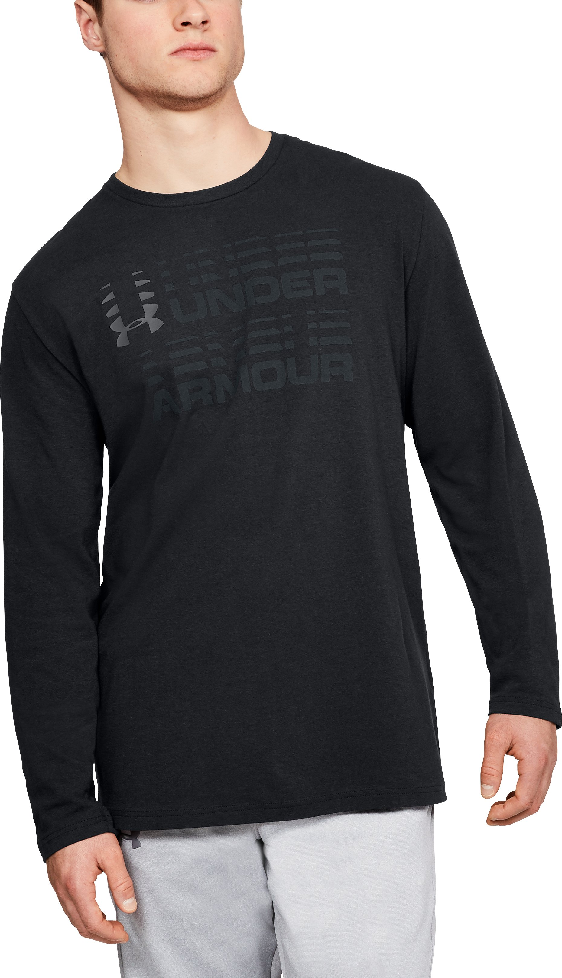 Men's UA Wordmark Glitch Long Sleeve, Black