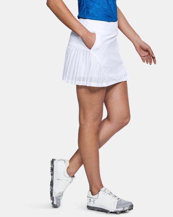 Women's UA Links Knit Mesh Skort, White, pdpMainDesktop image number 3