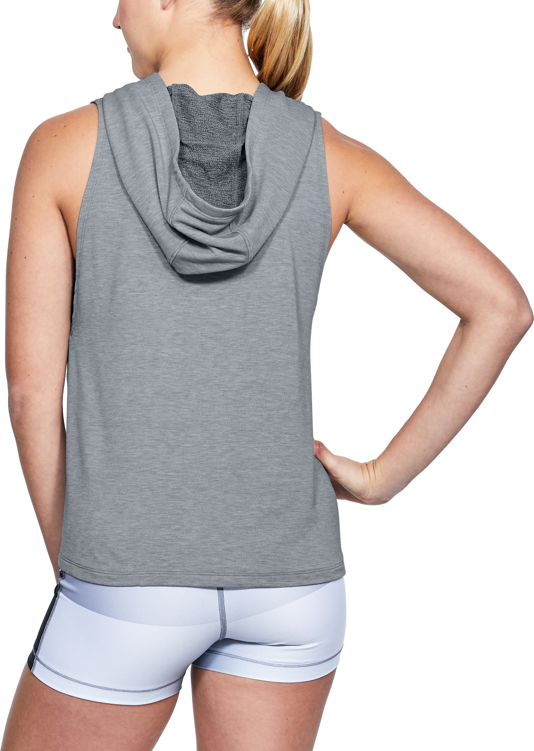 Women's UA Modal Terry Vest, STEEL FADE HEATHER,