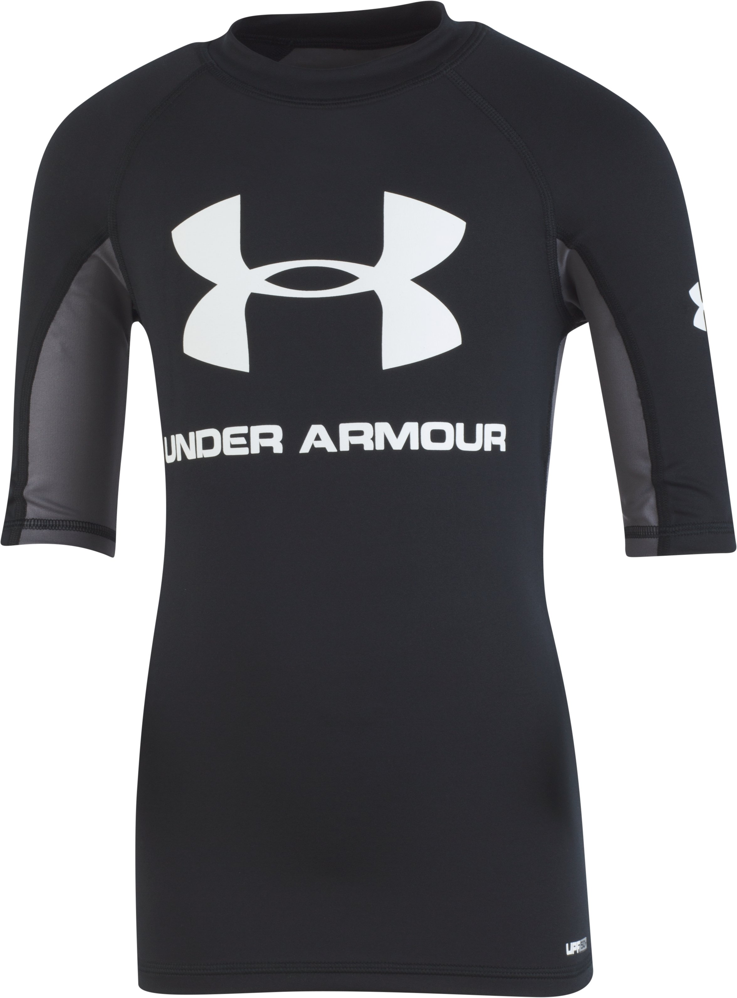 Boys' UA Compression Short Sleeve Rashguard Shirt, Black , Laydown