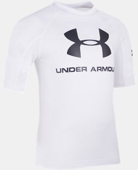 New to Outlet Boys' UA Compression Short Sleeve Rashguard Shirt  1 Color $15.74