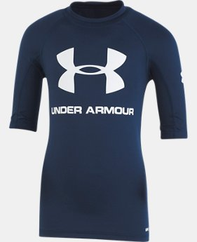 Boys' UA Compression Short Sleeve Rashguard Shirt  1  Color Available $28