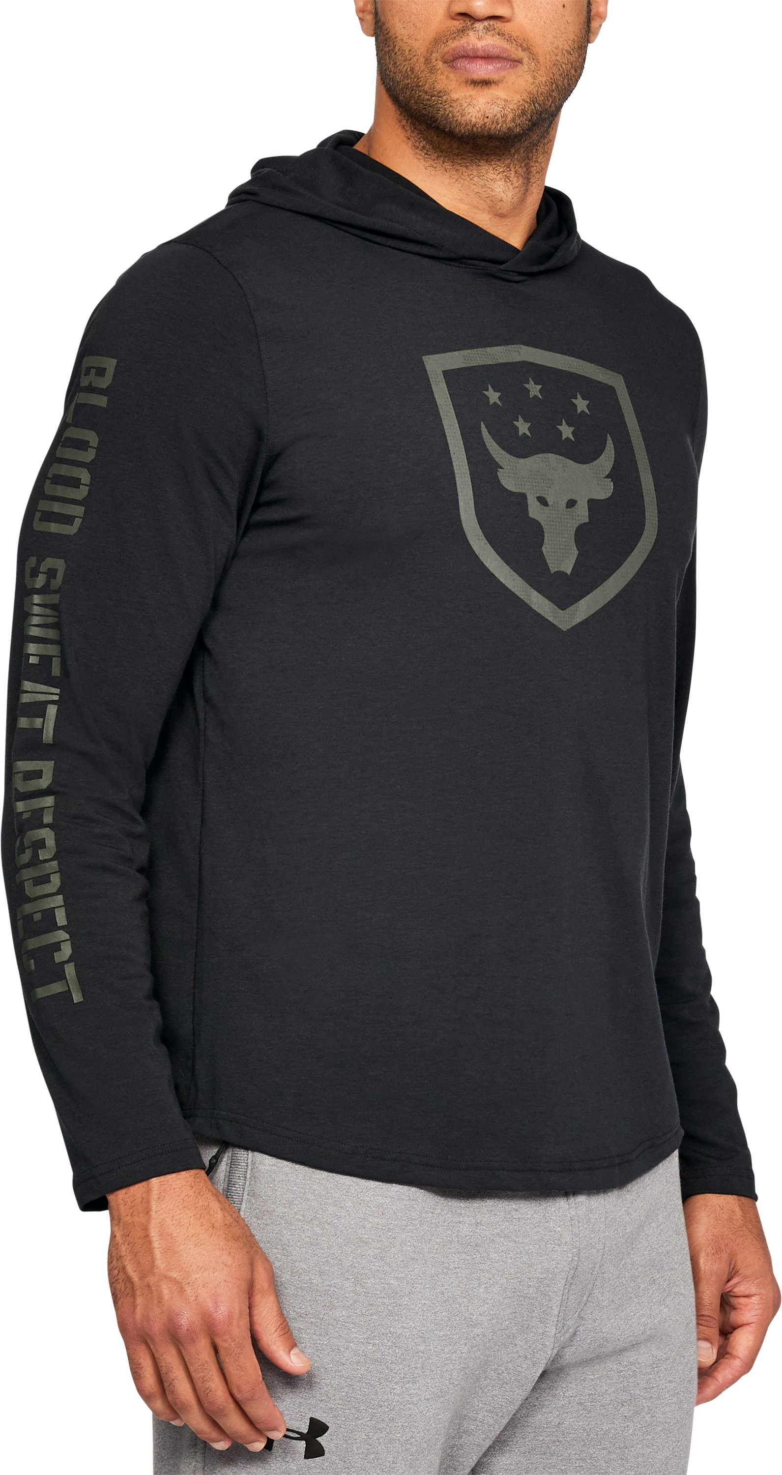 Men's UA x Project Rock Troops Hoodie, Black ,