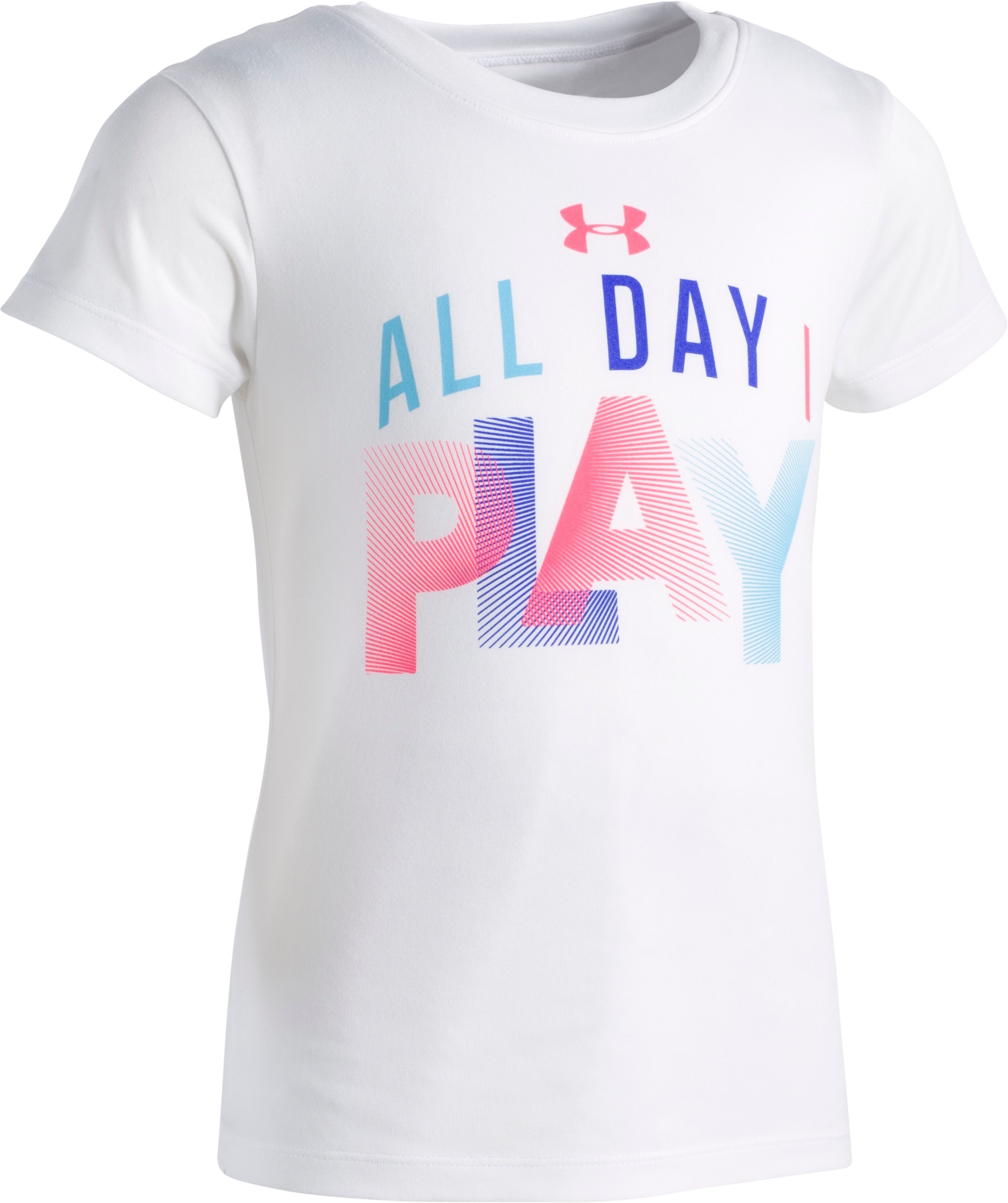 Girls' Pre-School UA All Day I Play Short Sleeve, White, zoomed