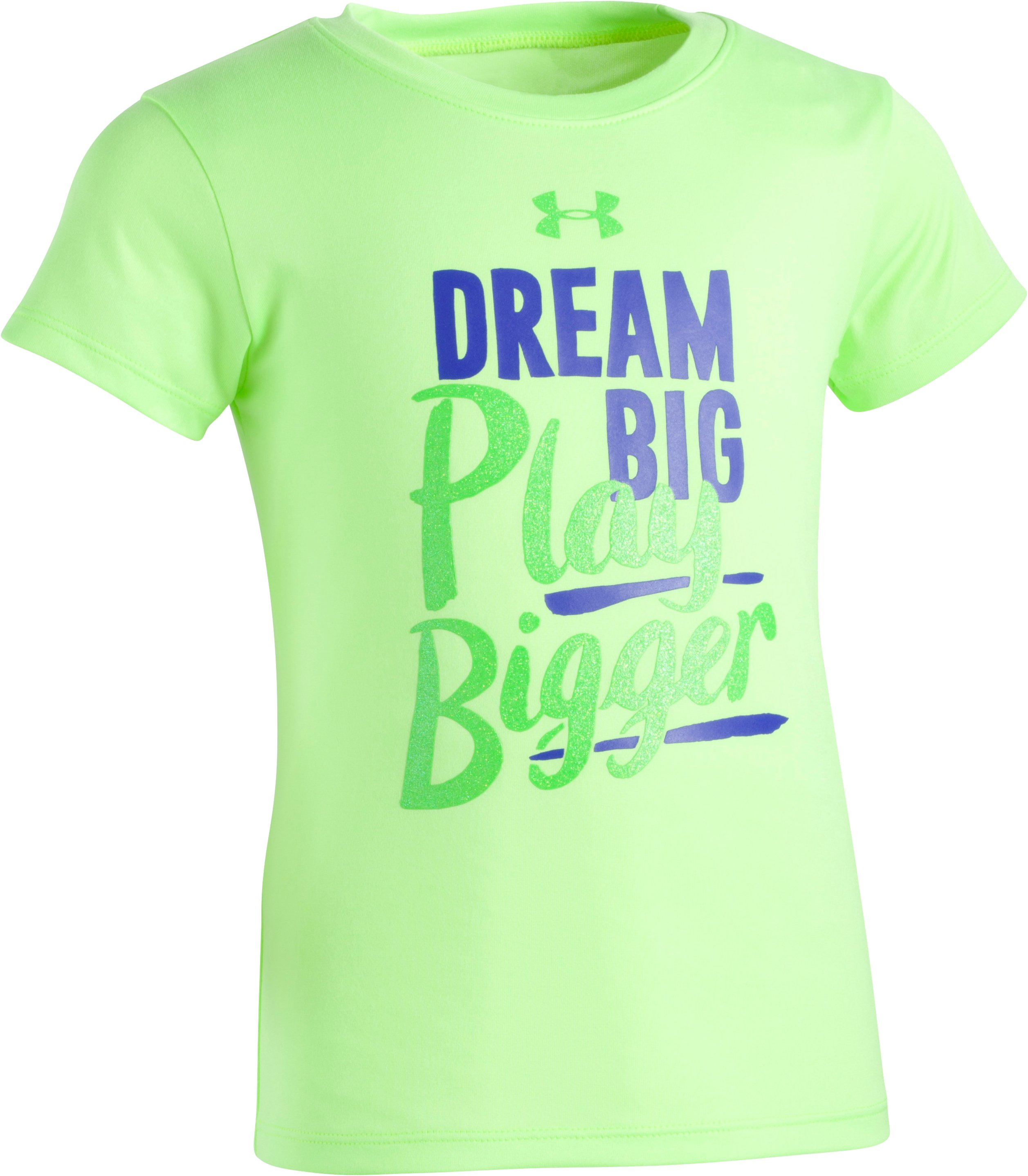 Girls' Pre-School UA Dream Big Play Bigger Short Sleeve, Quirky Lime, zoomed