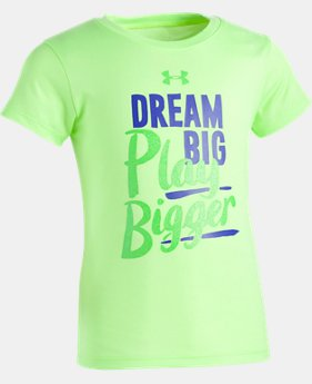 New Arrival Girls' Pre-School UA Dream Big Play Bigger Short Sleeve  1 Color $17.99
