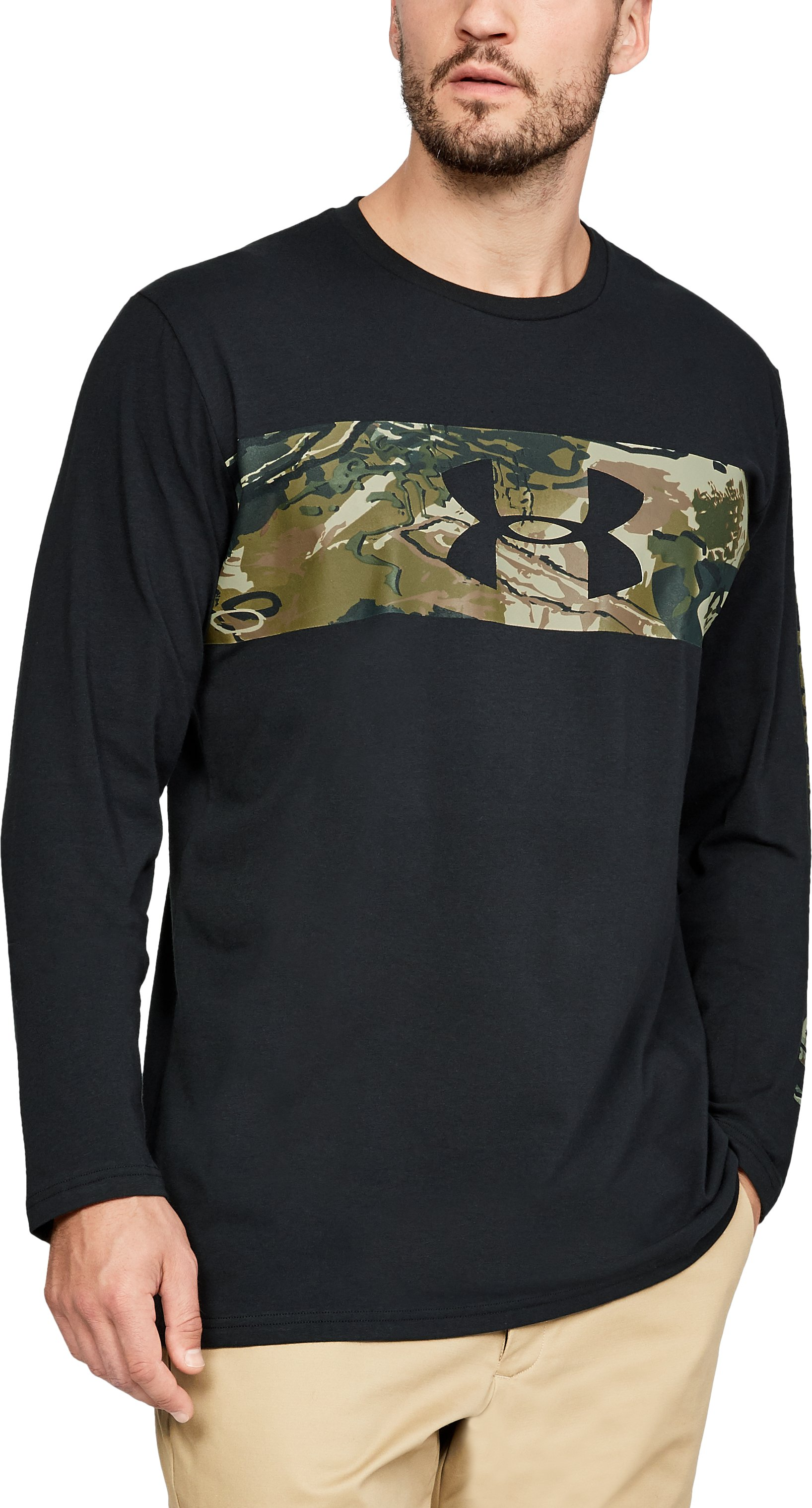 Men's UA Banded Camo Long Sleeve, Black